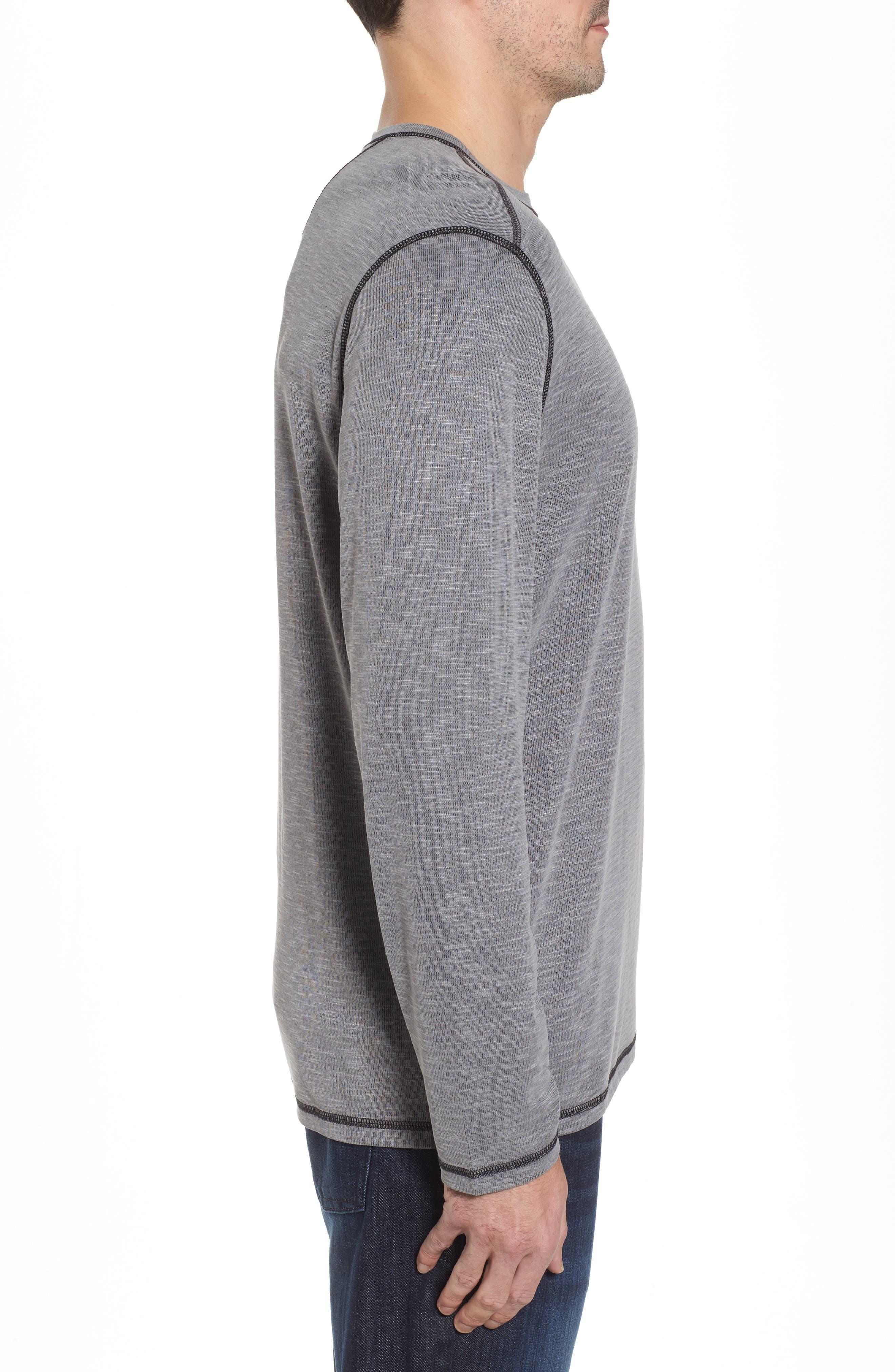 Flip Tide Long Sleeve T-Shirt,                             Alternate thumbnail 4, color,                             Coal