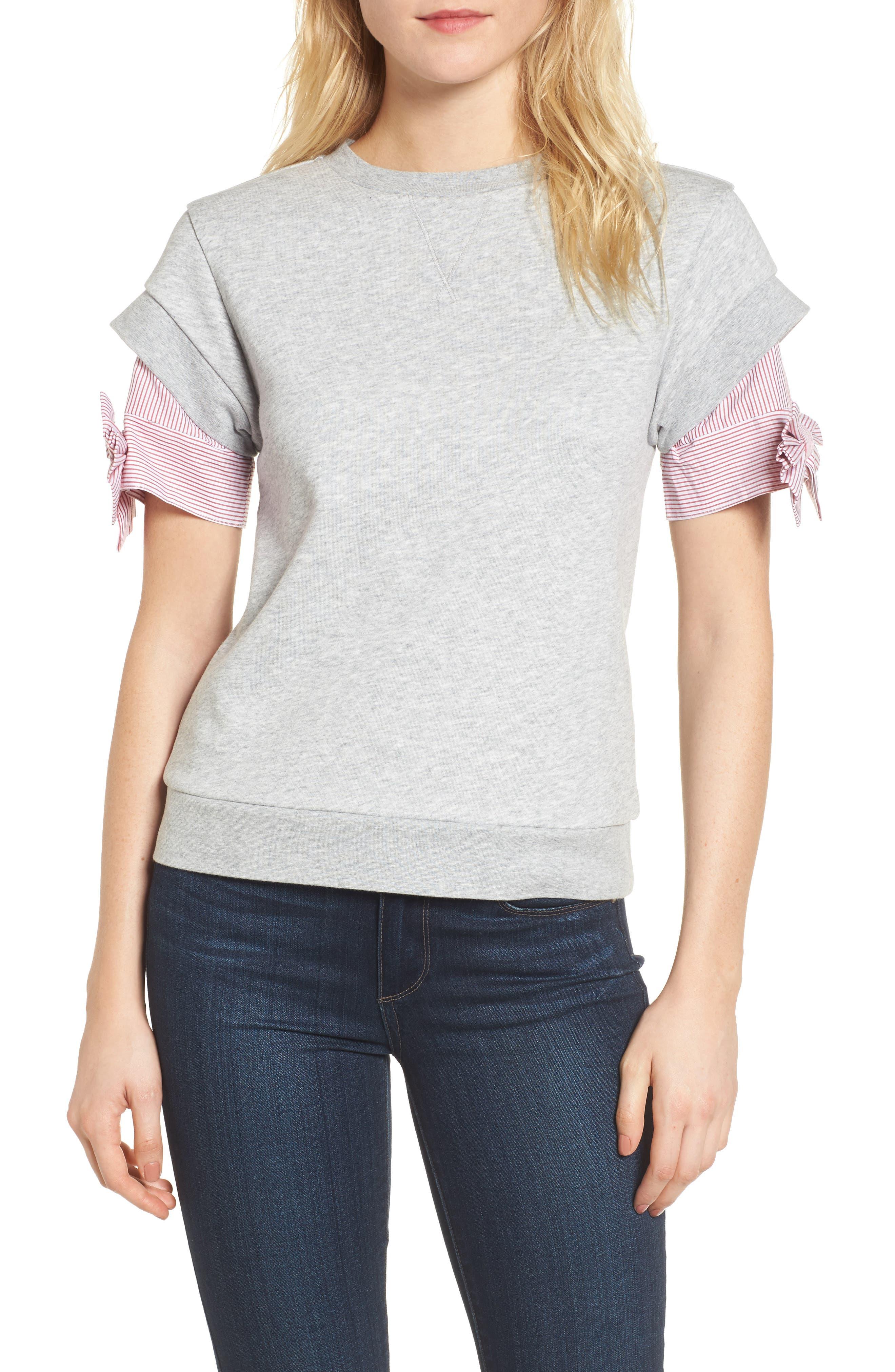 Bow Sleeve Sweatshirt,                             Main thumbnail 1, color,                             Grey Heather
