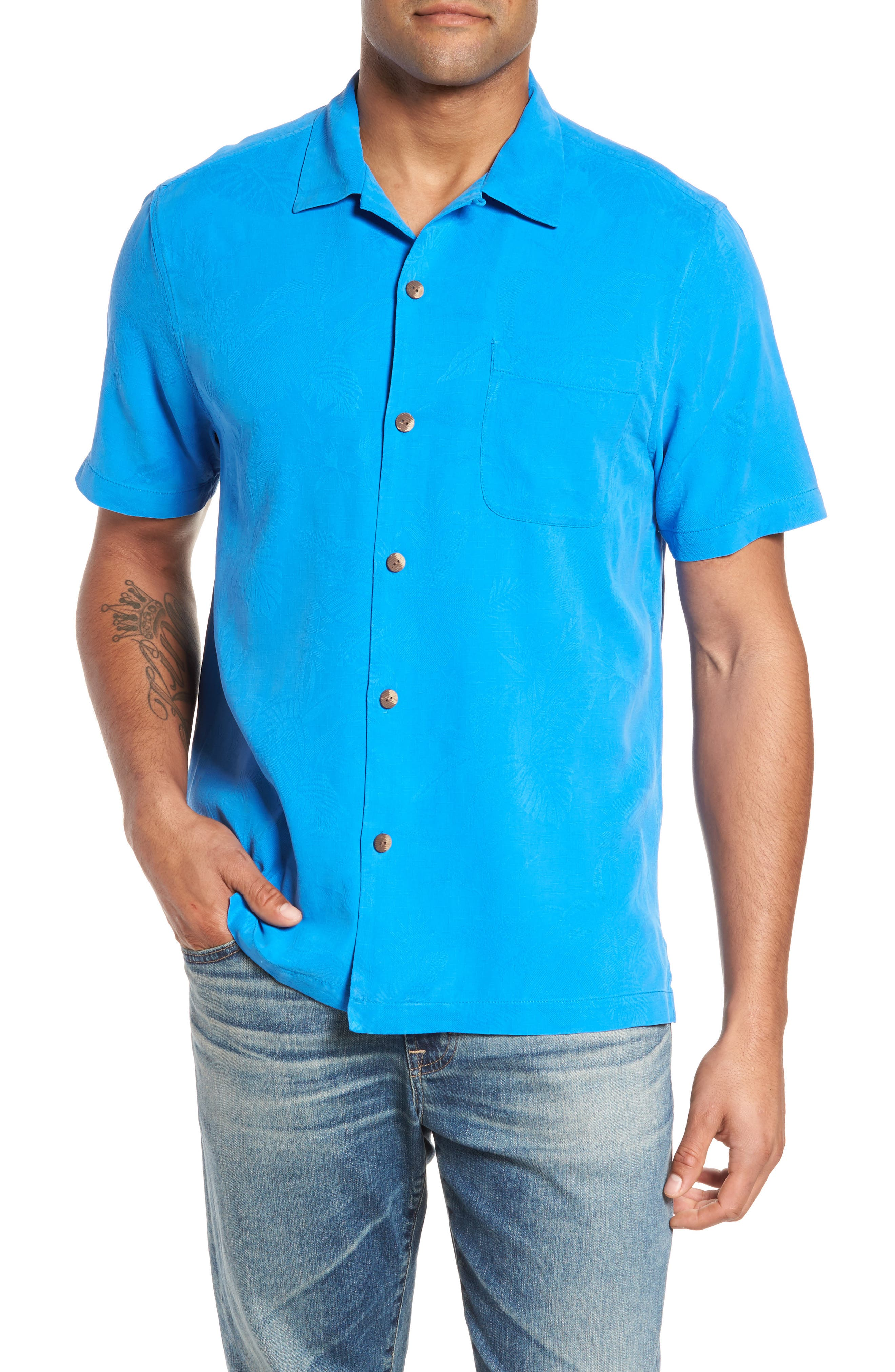 St Lucia Fronds Silk Camp Shirt,                             Main thumbnail 1, color,                             Santorini Blue