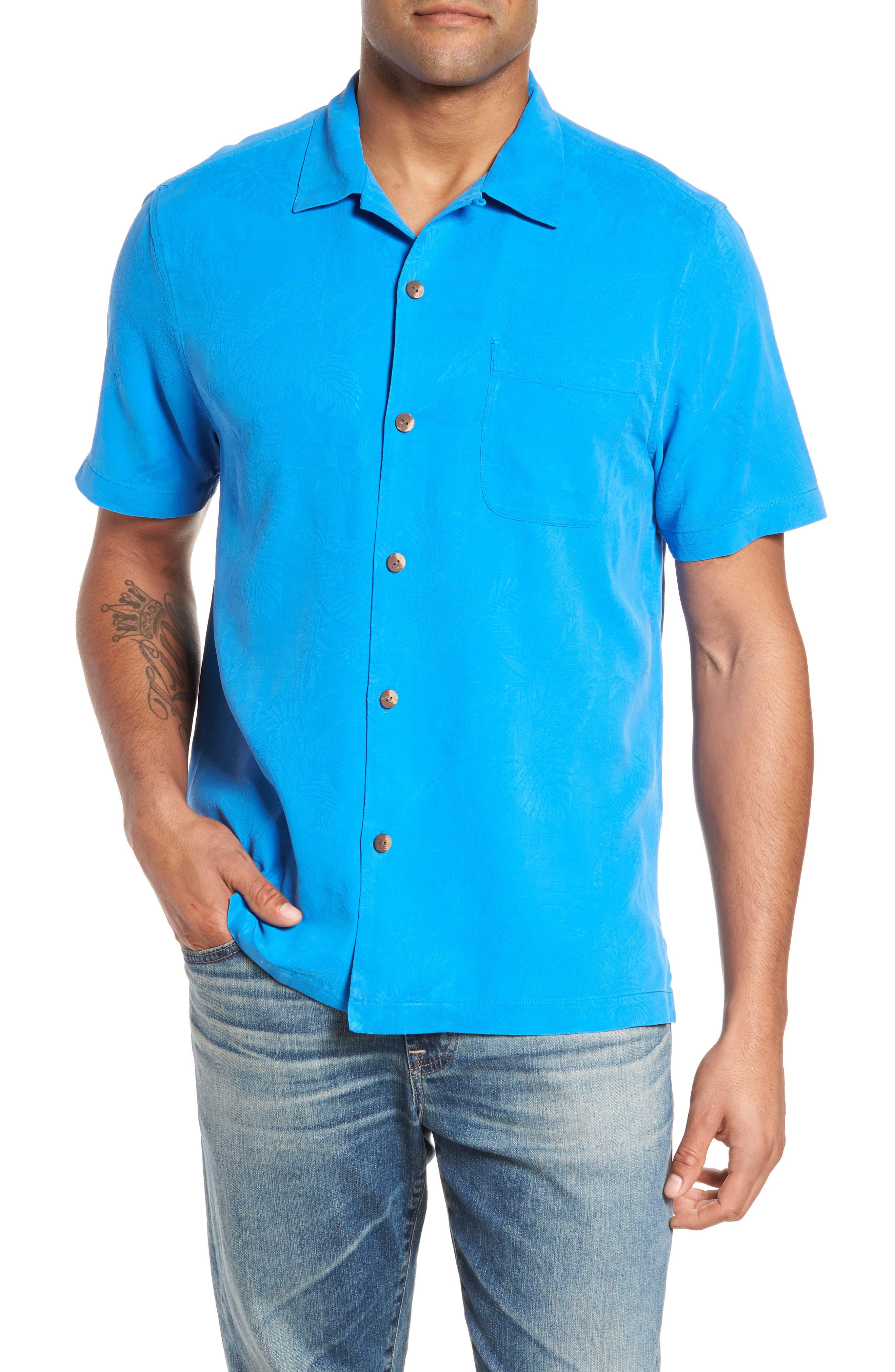 St Lucia Fronds Silk Camp Shirt,                         Main,                         color, Santorini Blue