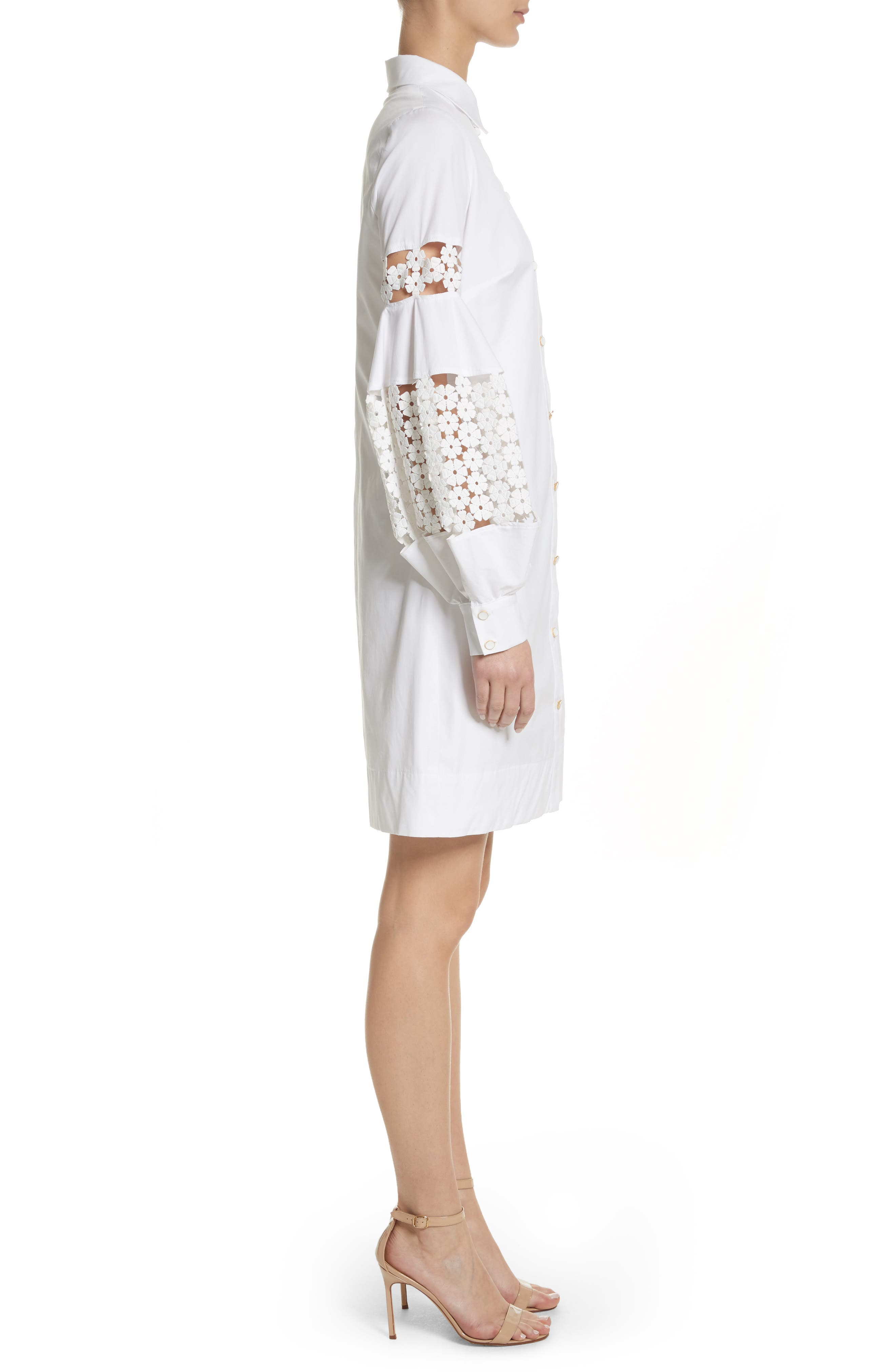 Lace Inset Puff Sleeve Shirtdress,                             Alternate thumbnail 3, color,                             White