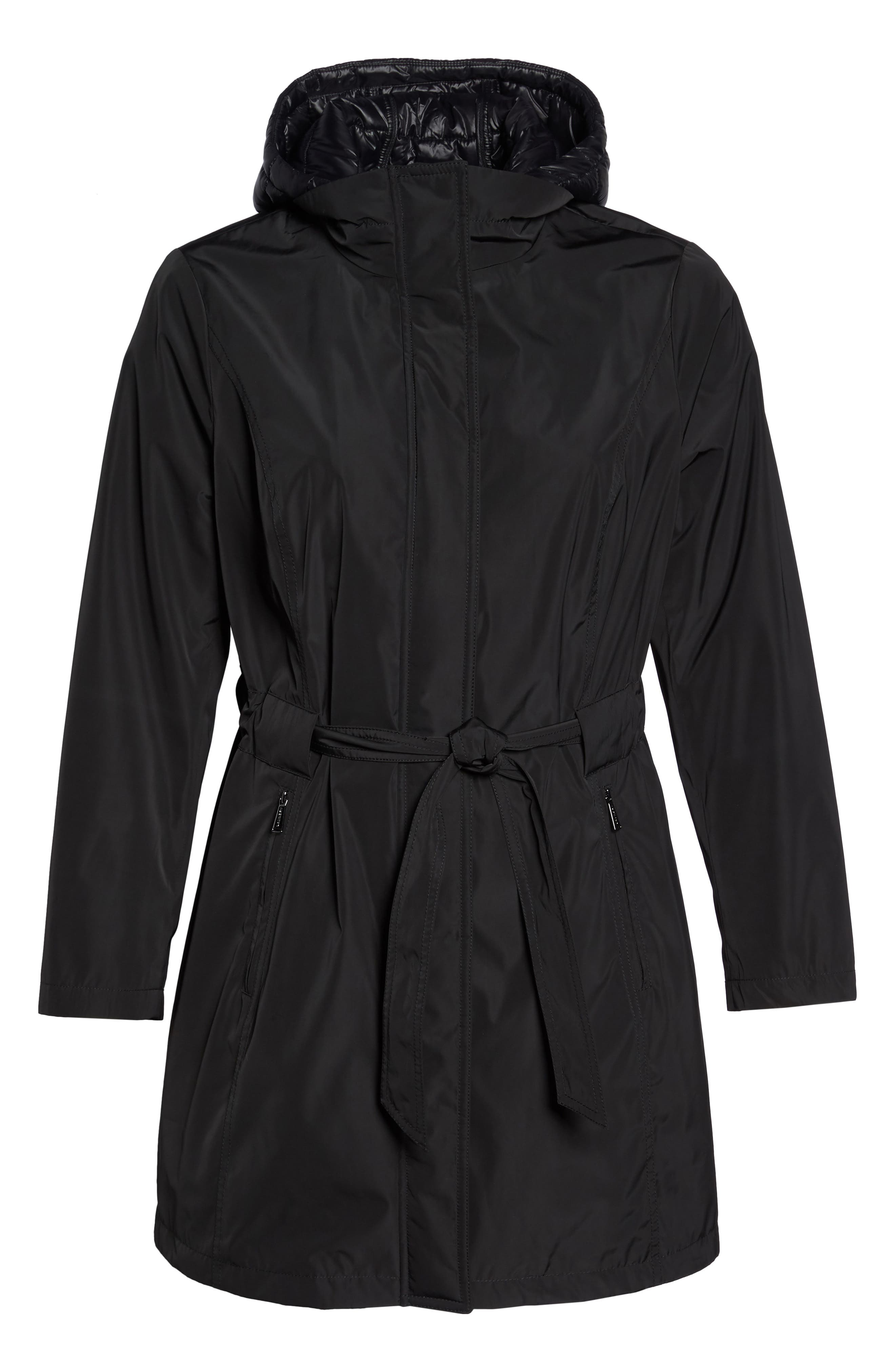 Alternate Image 6  - Laundry by Shelli Segal Water Resistant Hooded Coat with Puffer Bib Inset (Plus Size)