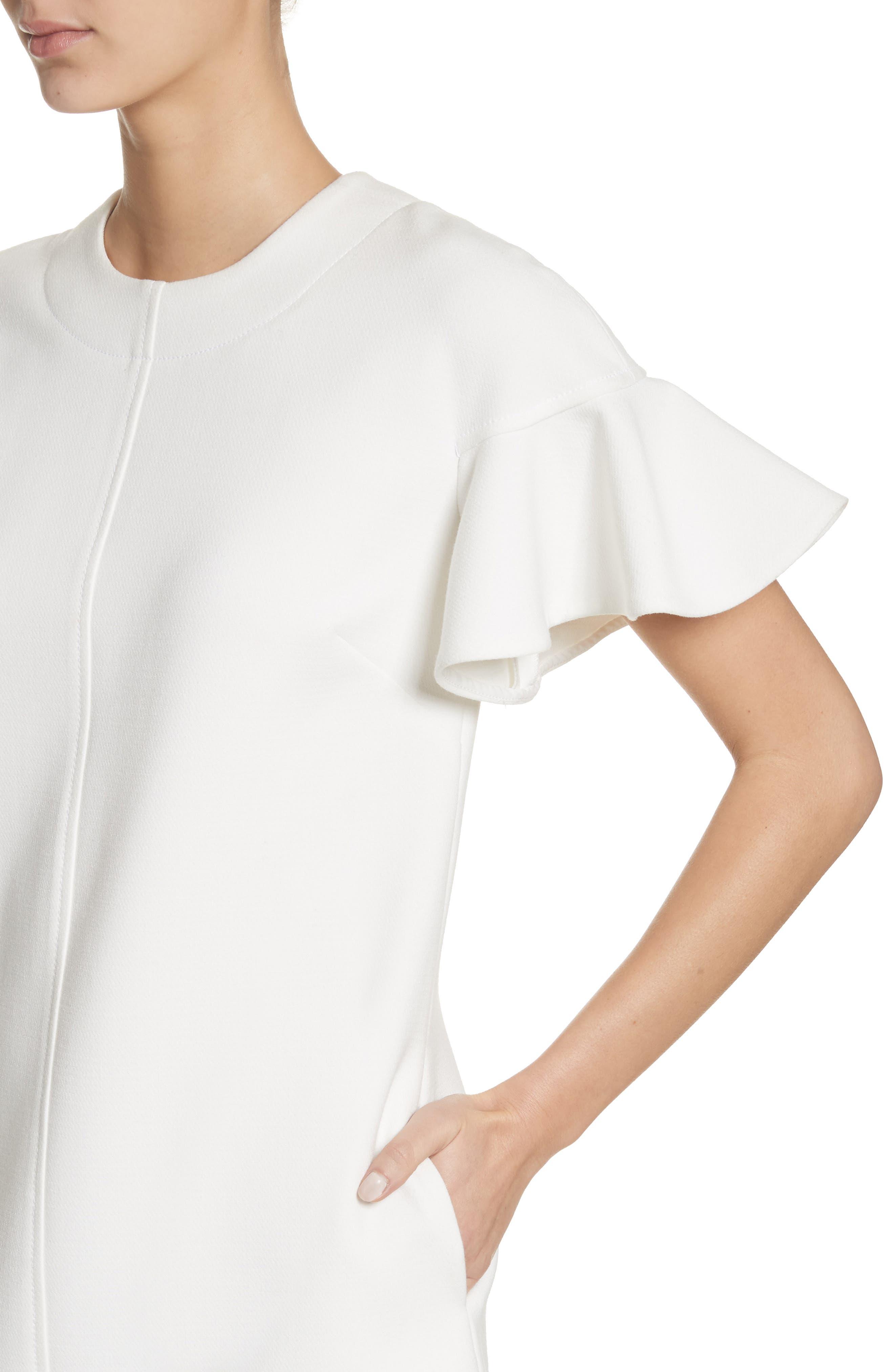 Flutter Sleeve Wool Blend Shift Dress,                             Alternate thumbnail 4, color,                             White