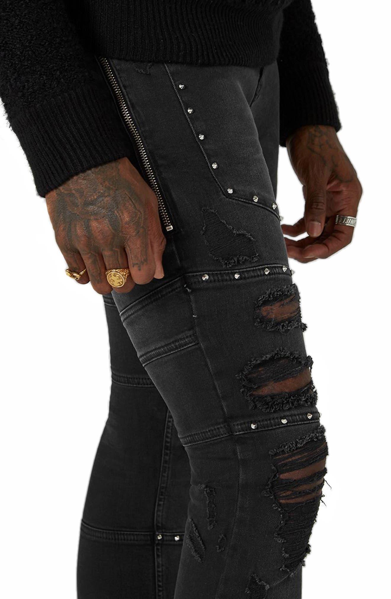 Studded Spray-On Biker Jeans,                             Alternate thumbnail 3, color,                             Black