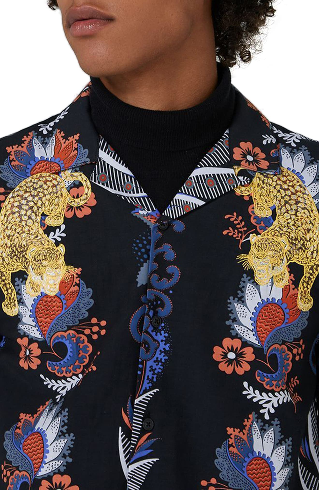 Embroidered Tiger Print Revere Collar Shirt,                             Alternate thumbnail 3, color,                             Black