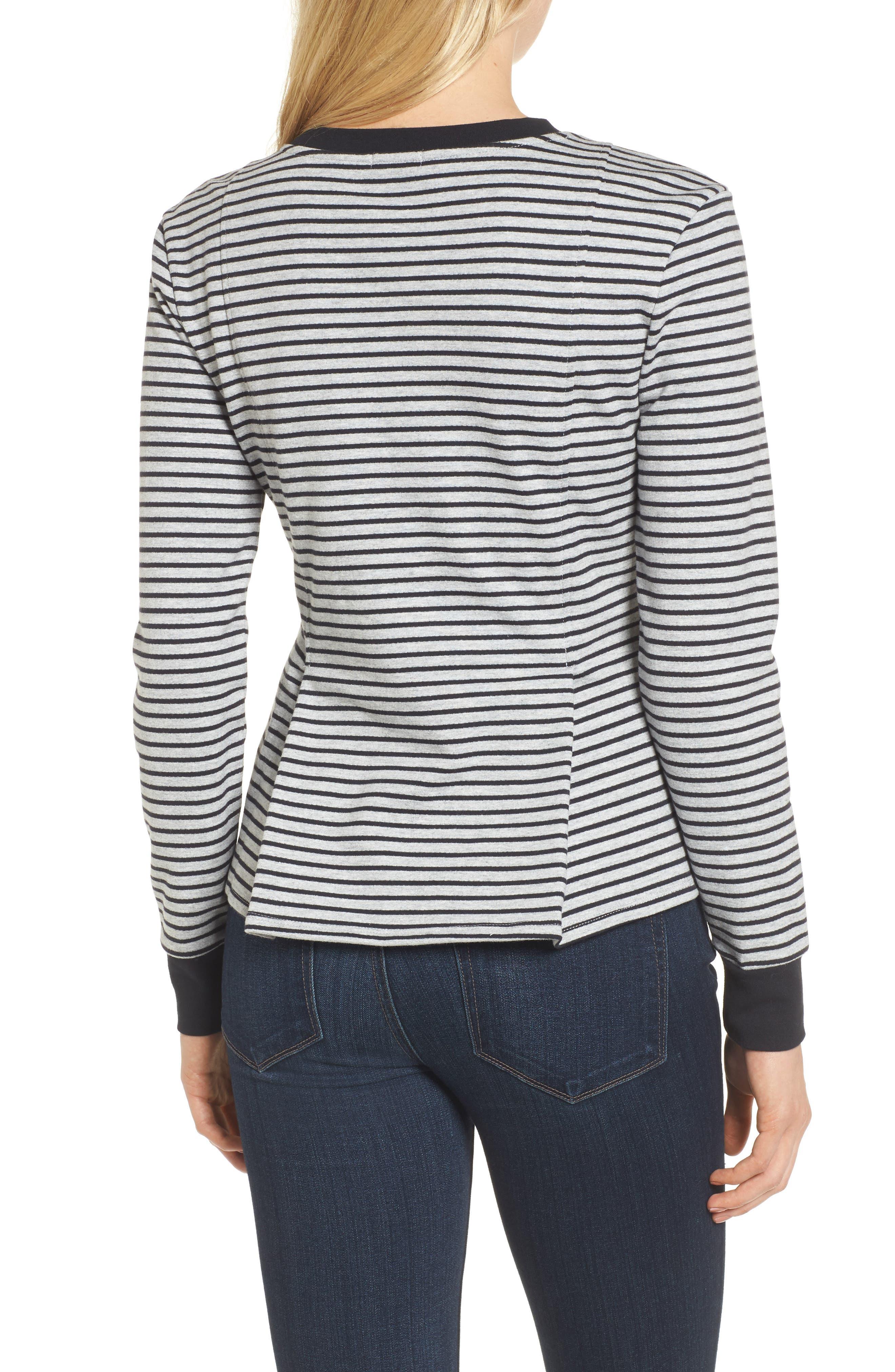 Pleated Sweatshirt,                             Alternate thumbnail 2, color,                             Grey Heather- Navy Seam Stripe