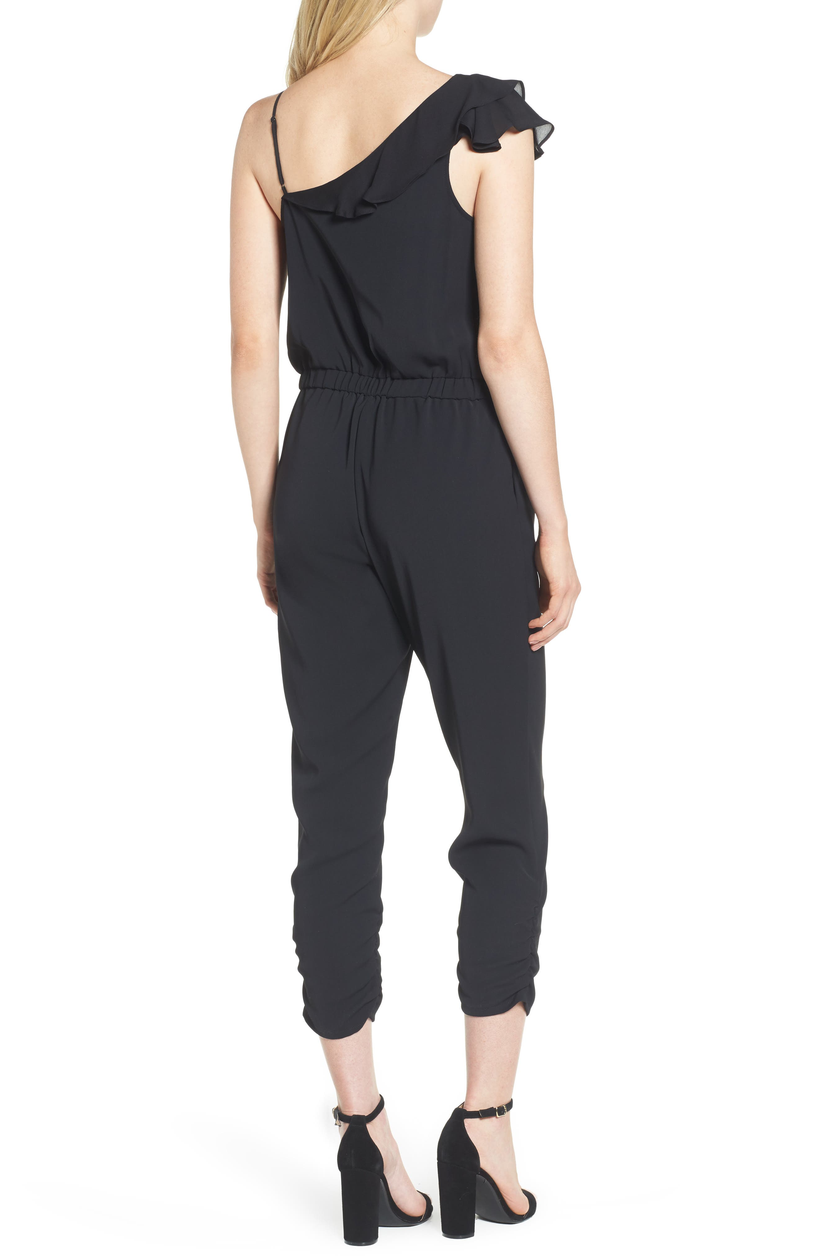 Addison Asymmetrical Jumpsuit,                             Alternate thumbnail 2, color,                             Black