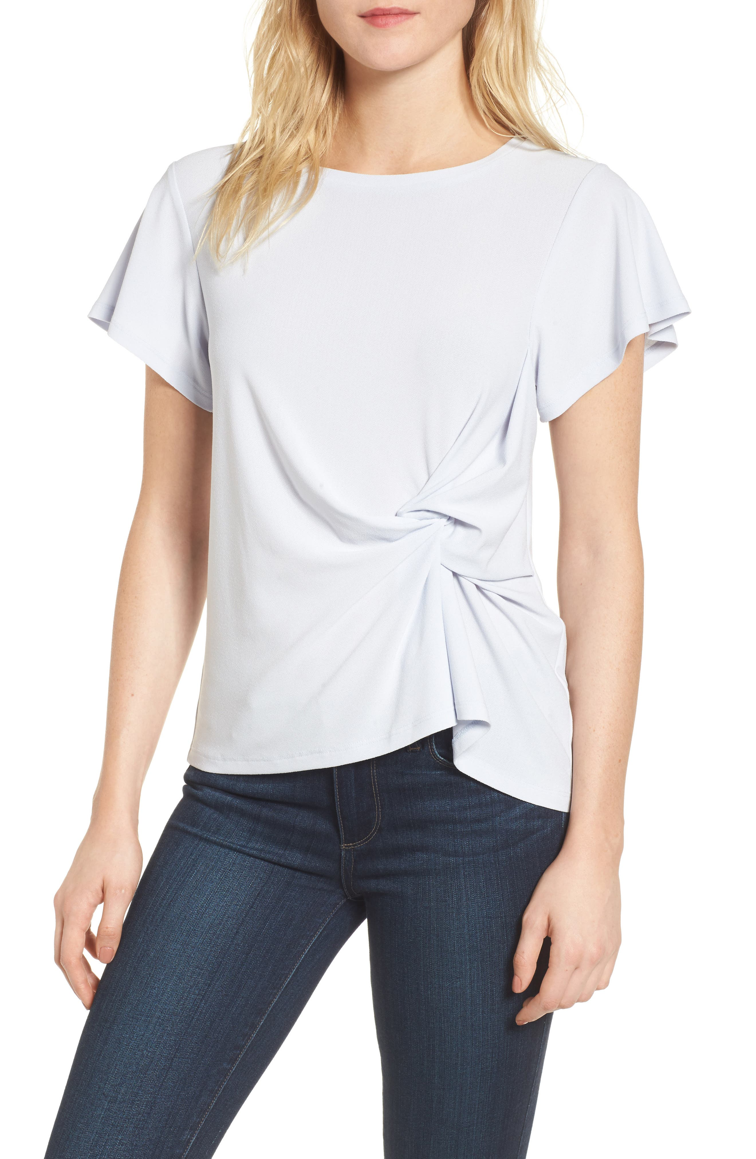 Side Knot Tee,                         Main,                         color, Blue Ice
