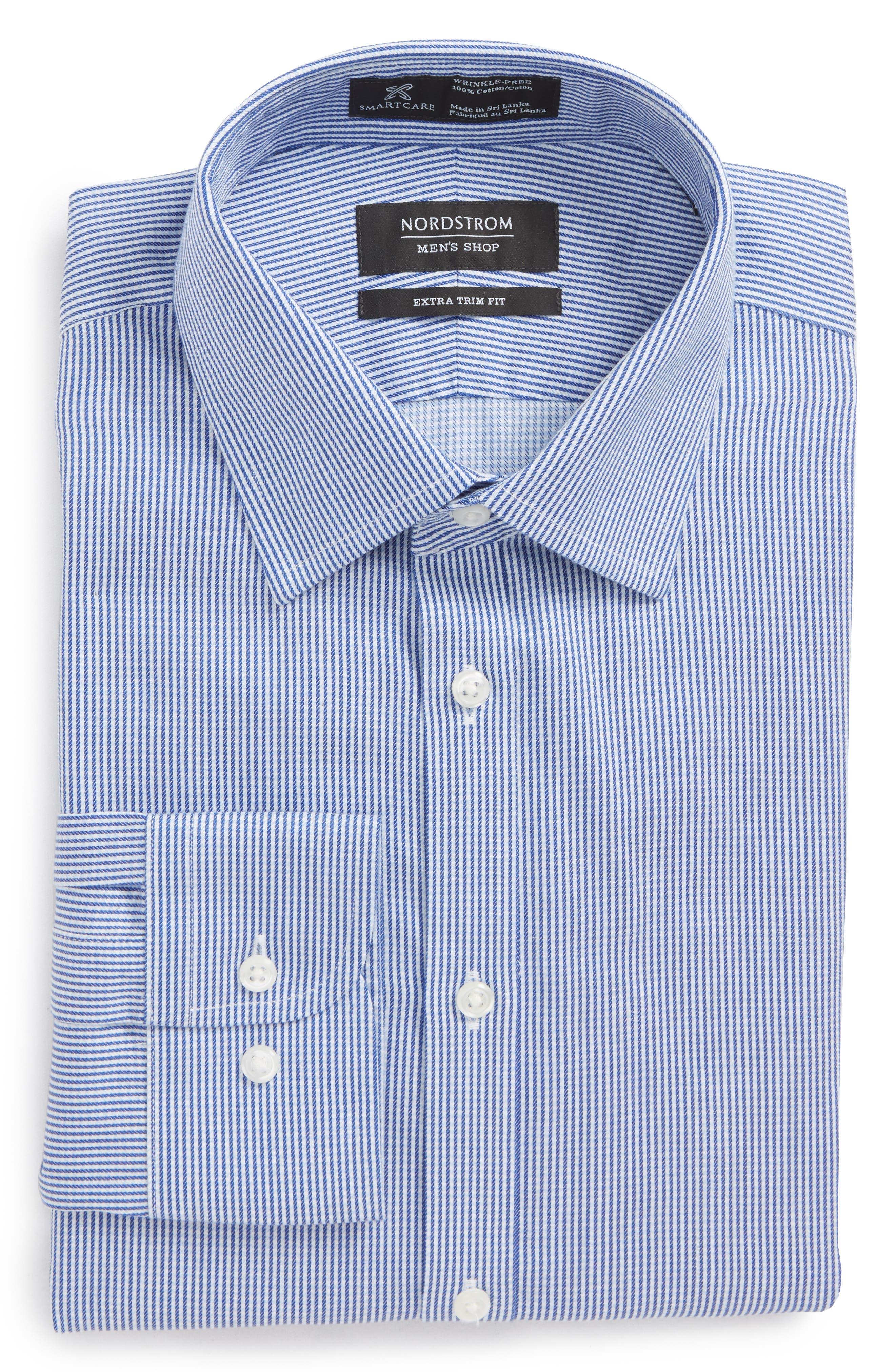 Smartcare<sup>™</sup> Extra Trim Fit Stripe Dress Shirt,                             Alternate thumbnail 6, color,                             Navy Print