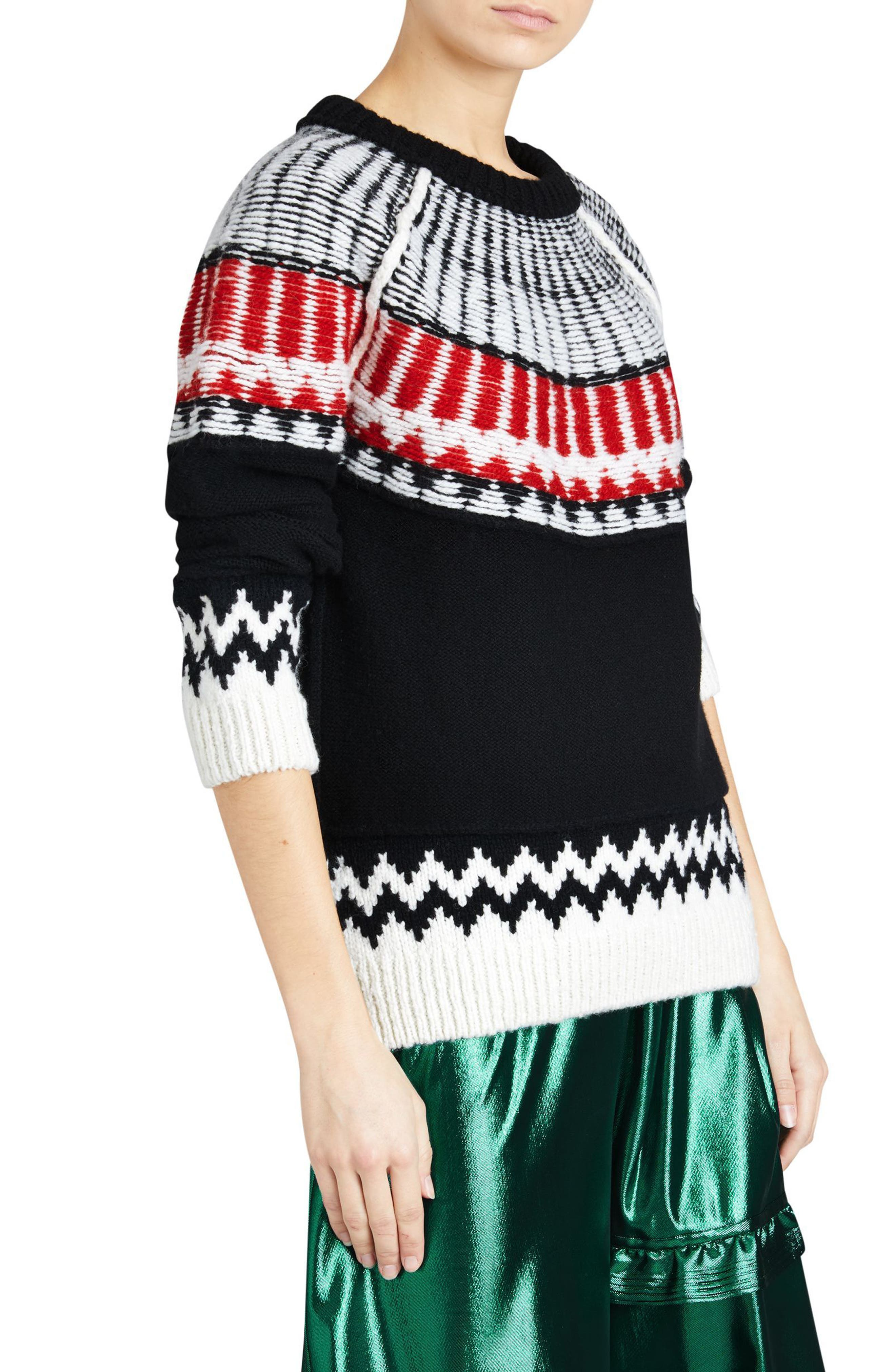 Trycroft Fair Isle Wool Blend Sweater,                             Alternate thumbnail 3, color,                             Black/ Military Red