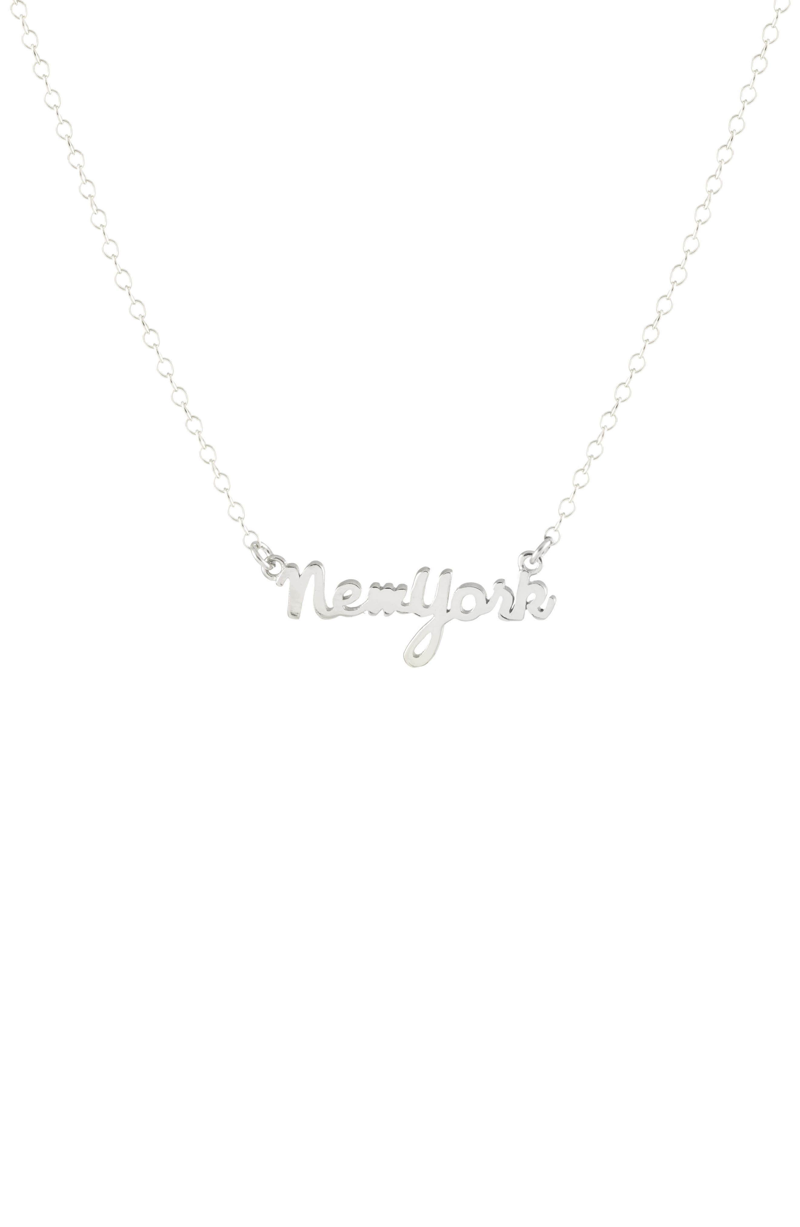 State Script Charm Necklace,                         Main,                         color, New York - Silver