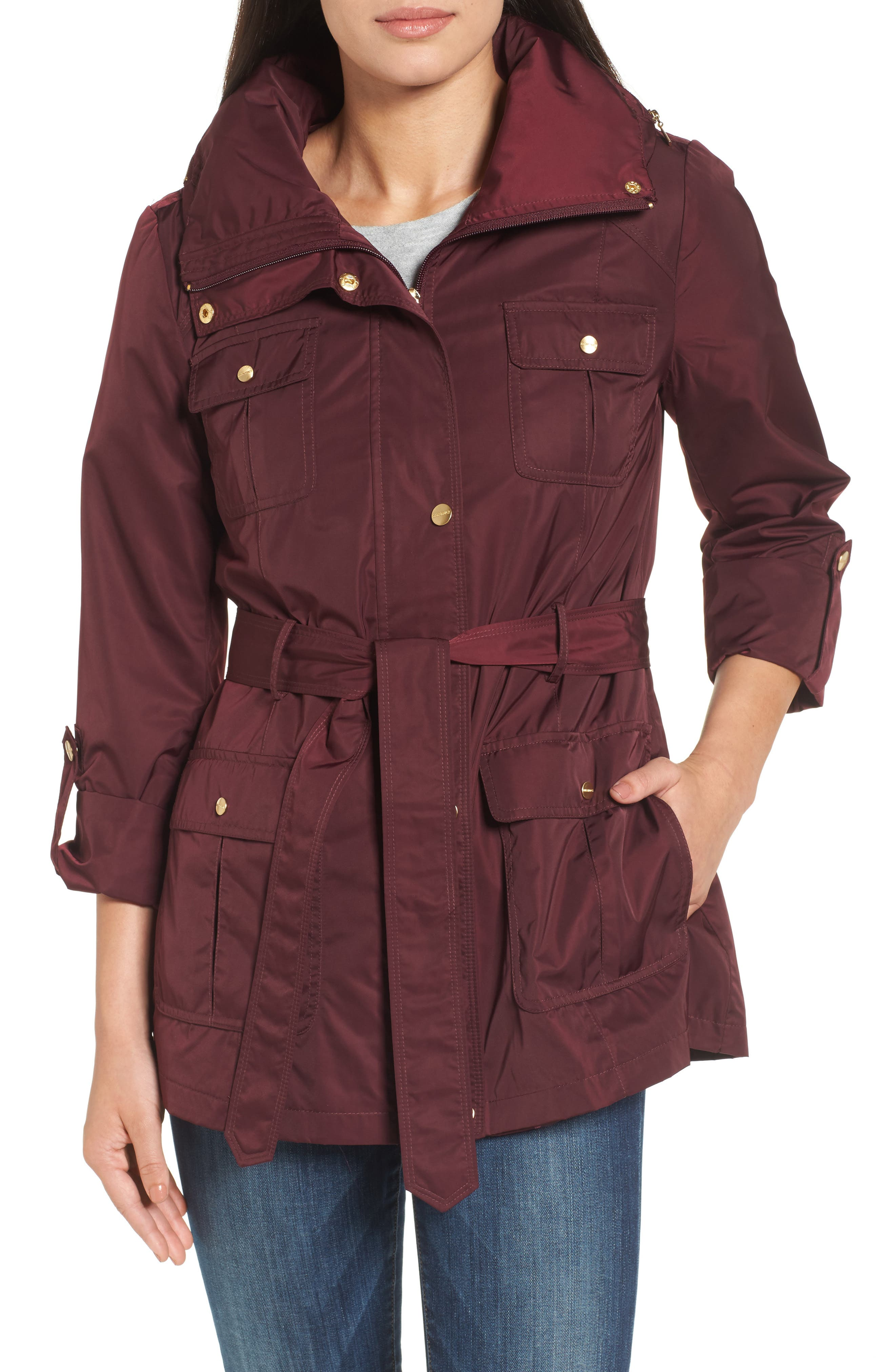 Techno Short Trench Coat,                             Main thumbnail 1, color,                             Burgundy
