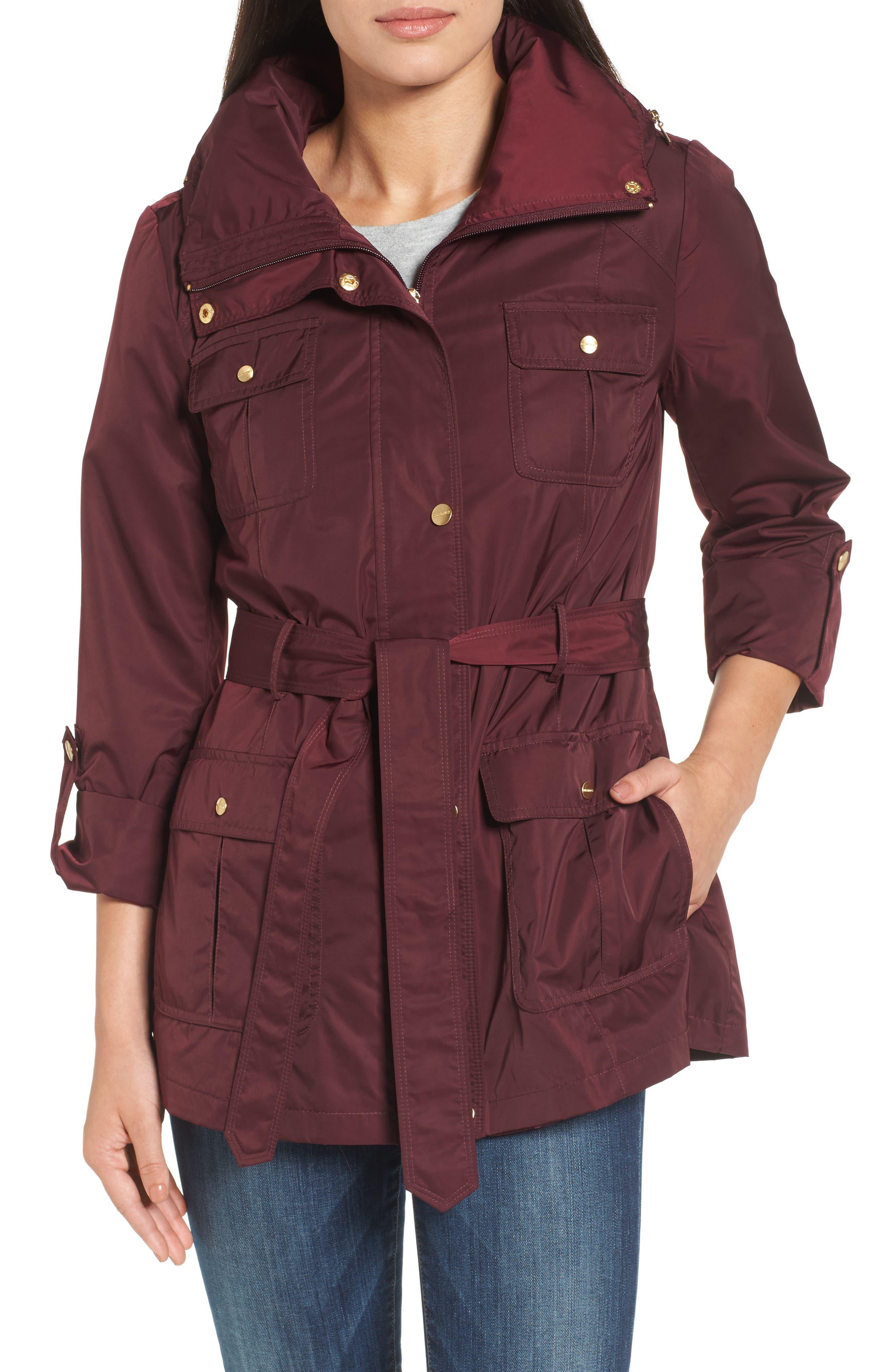 Techno Short Trench Coat,                         Main,                         color, Burgundy