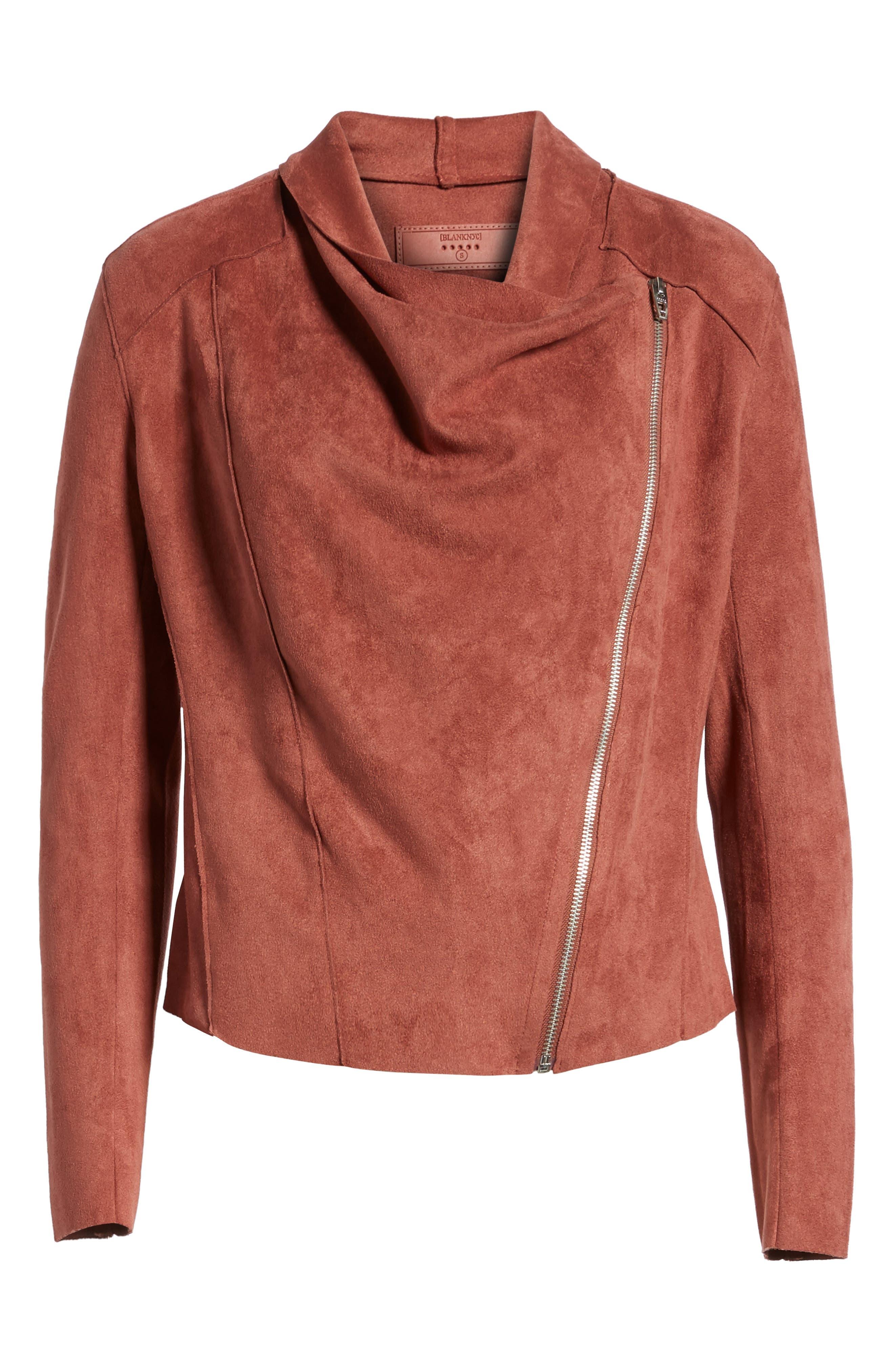 Alternate Image 6  - BLANKNYC Drape Front Faux Suede Jacket