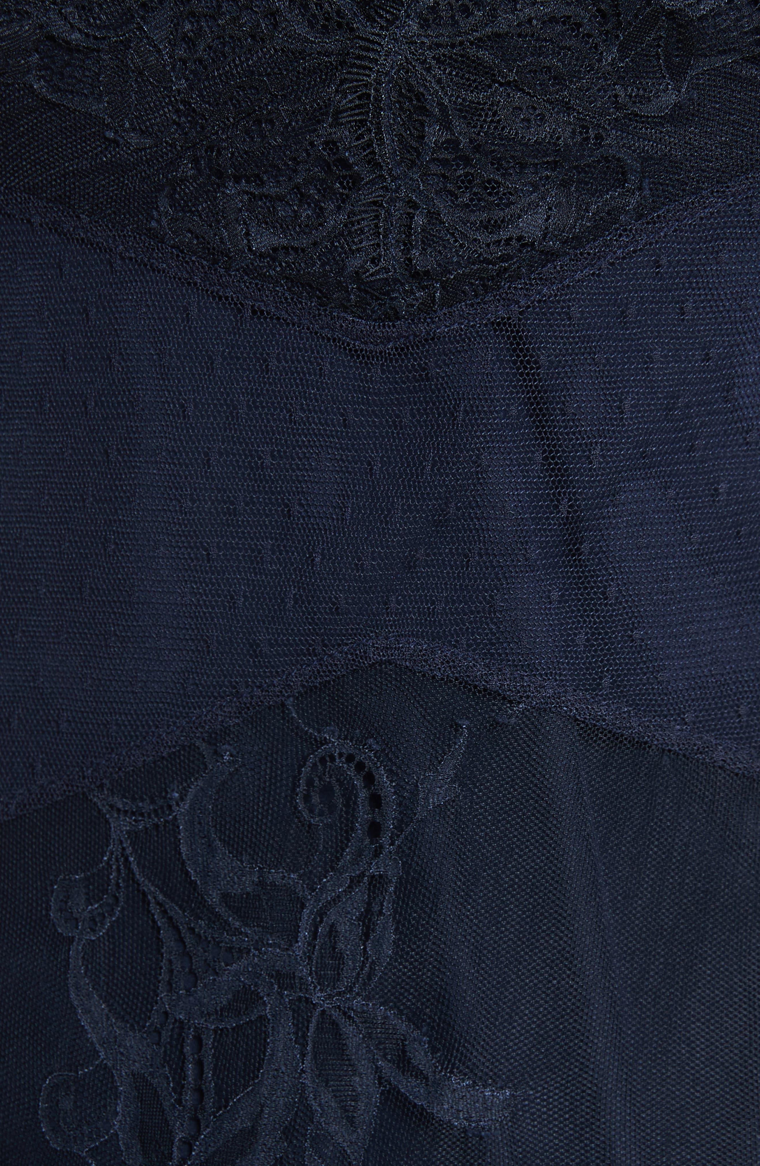 Amabella Feather Trim Dress,                             Alternate thumbnail 5, color,                             Navy