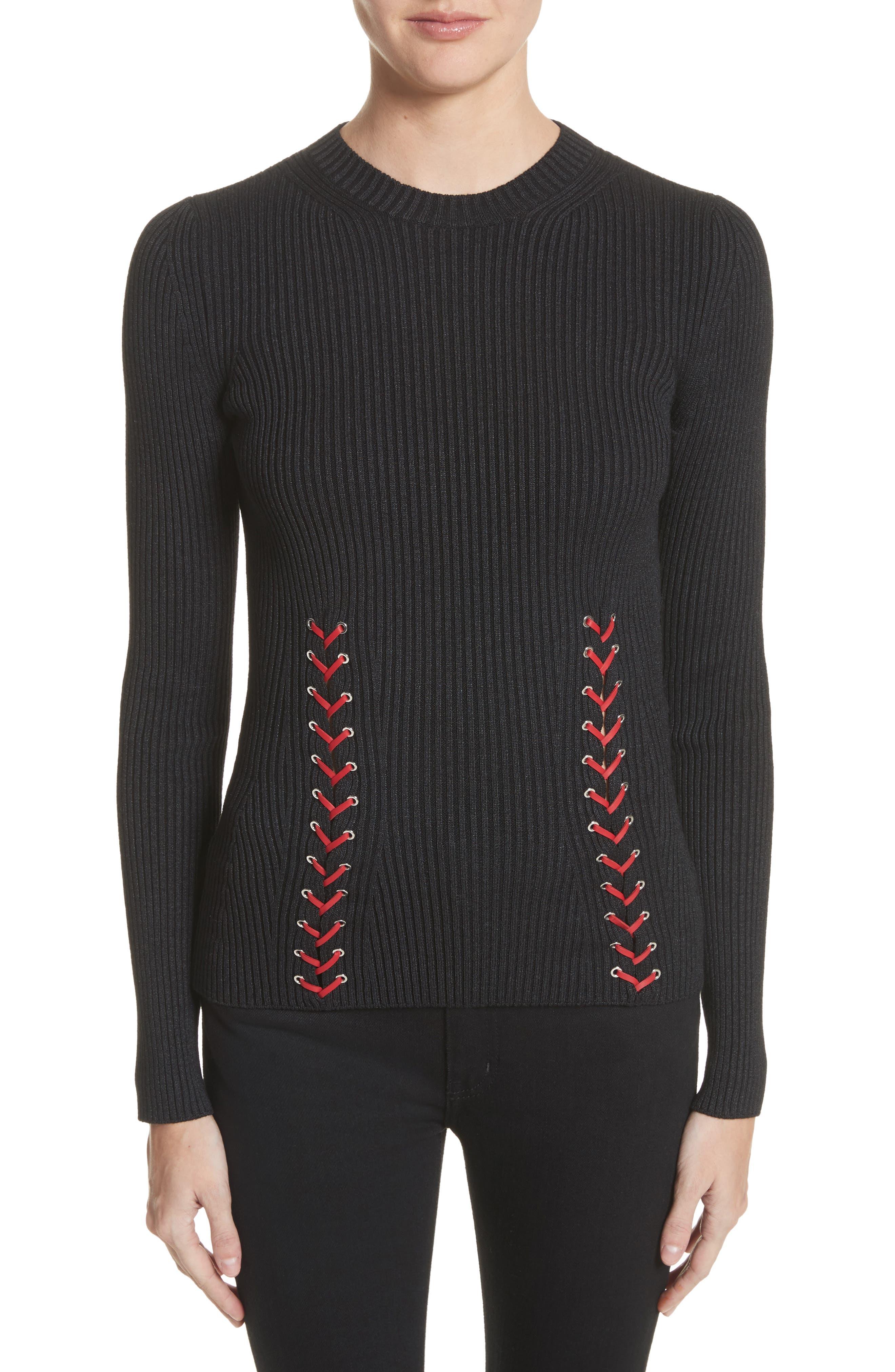 Main Image - Alexander McQueen Leather Braid Silk Blend Sweater