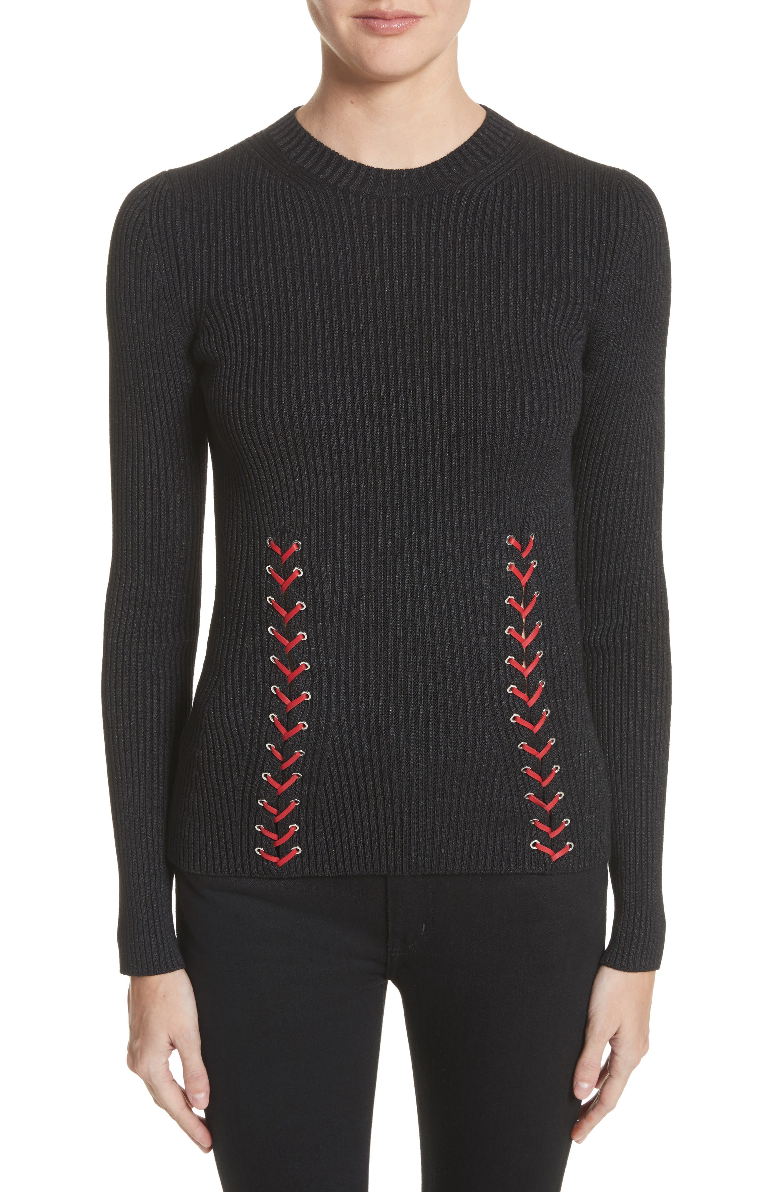 Leather Braid Silk Blend Sweater,                         Main,                         color, Black/ Red