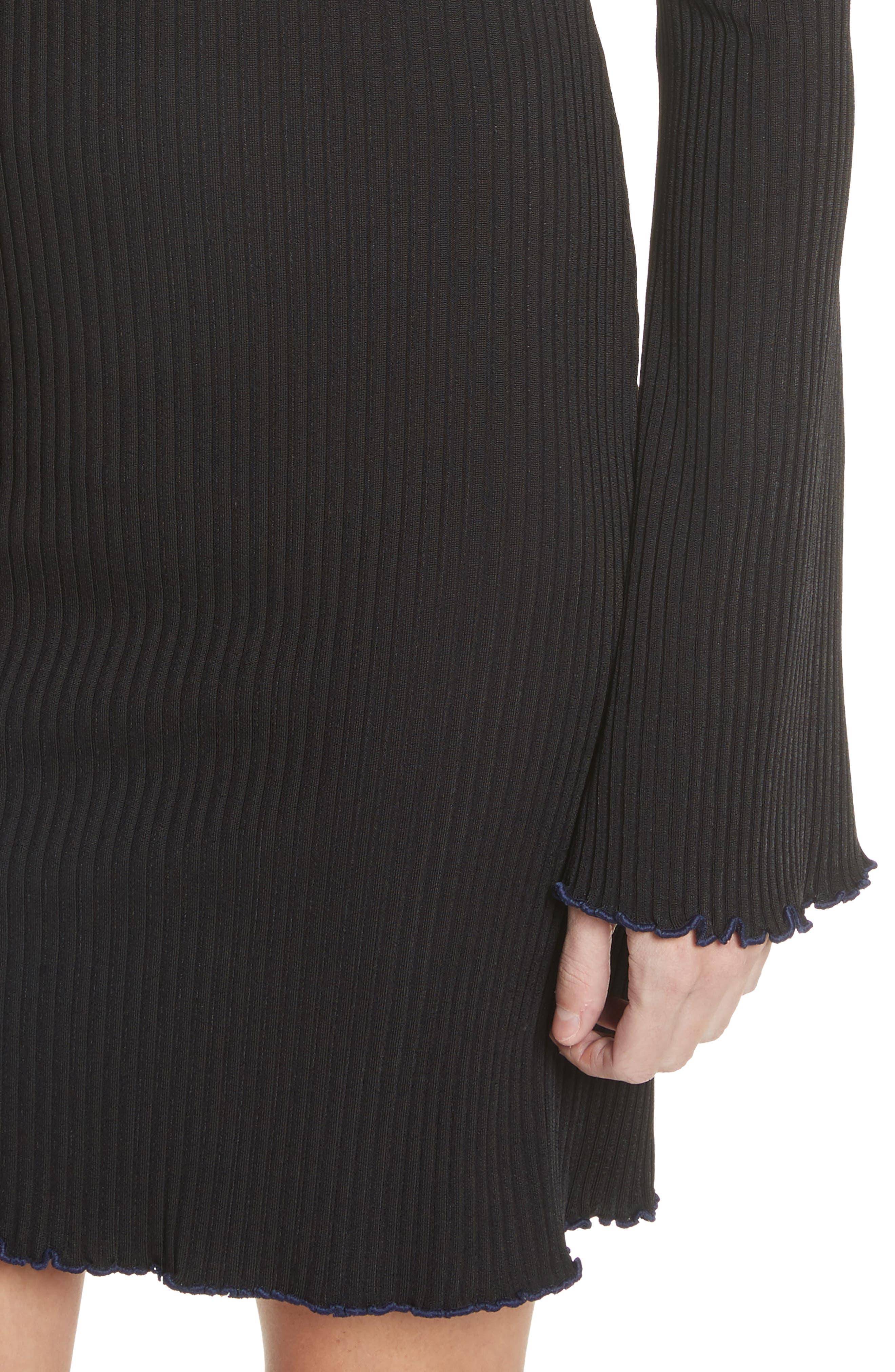 Sunshine Kid Ribbed Minidress,                             Alternate thumbnail 4, color,                             Black