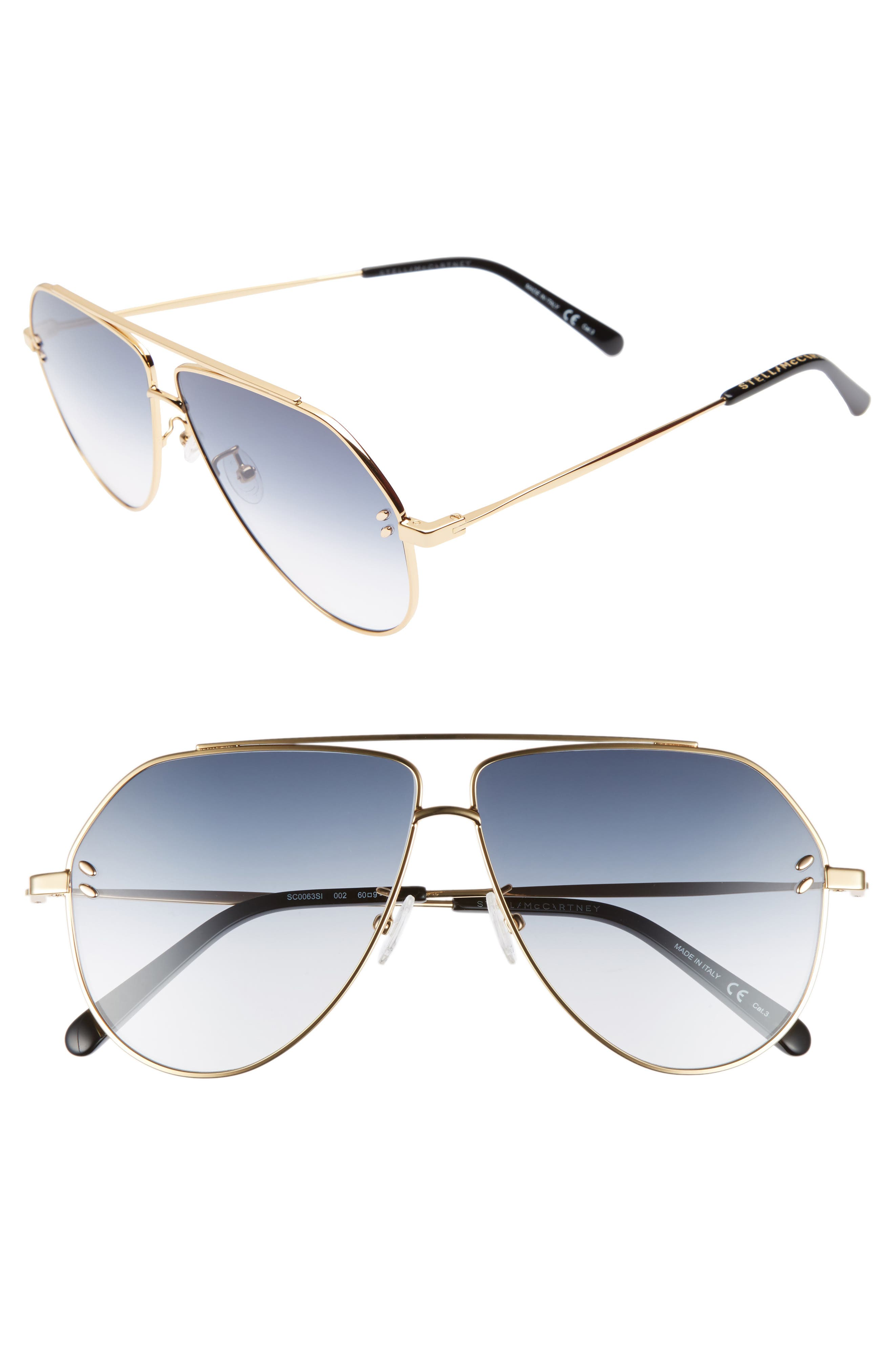 60MM AVIATOR SUNGLASSES - GOLD/ BLACK