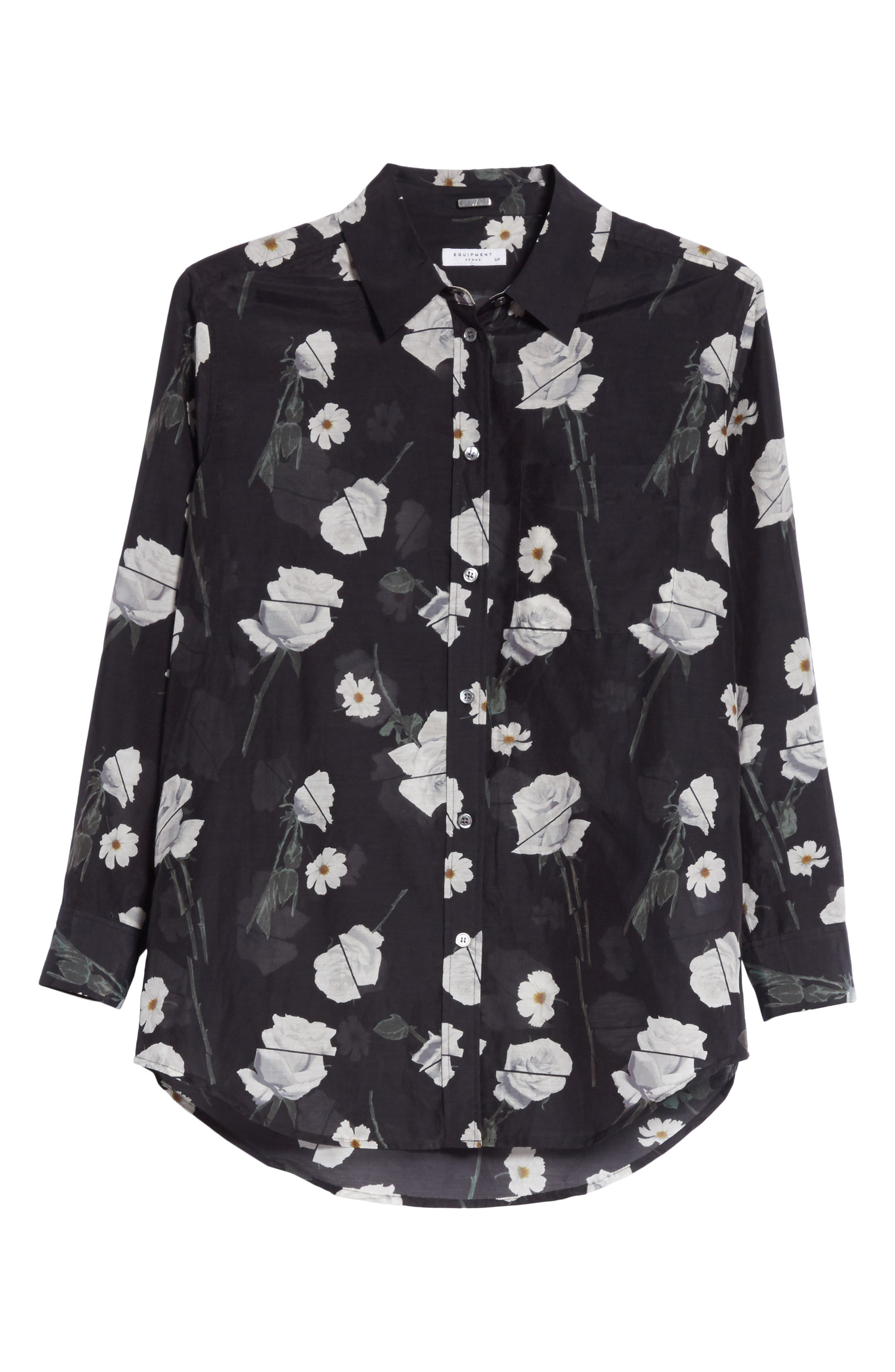 Daddy Floral Cotton & Silk Shirt,                             Alternate thumbnail 6, color,                             True Black Multi