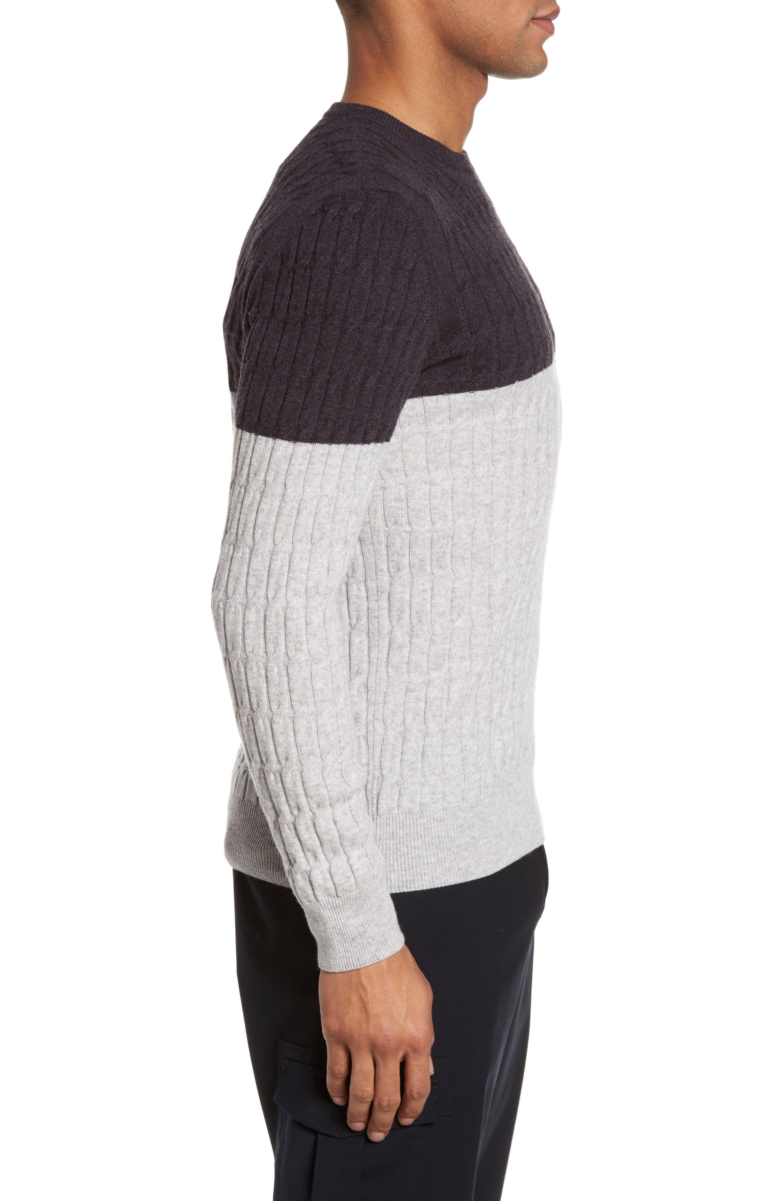 Alternate Image 3  - Eleventy Colorblock Cable Knit Cashmere Sweater