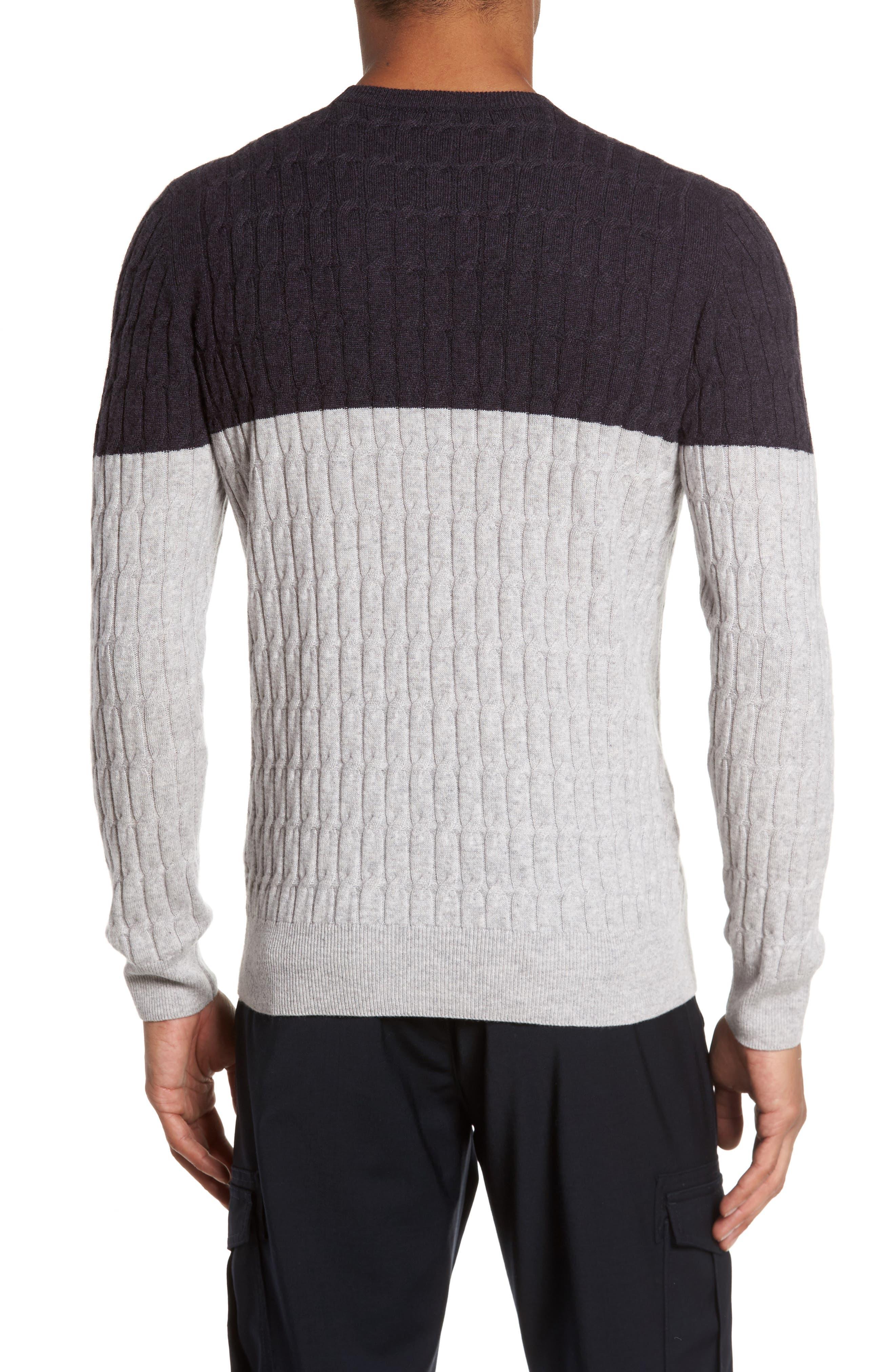 Alternate Image 2  - Eleventy Colorblock Cable Knit Cashmere Sweater