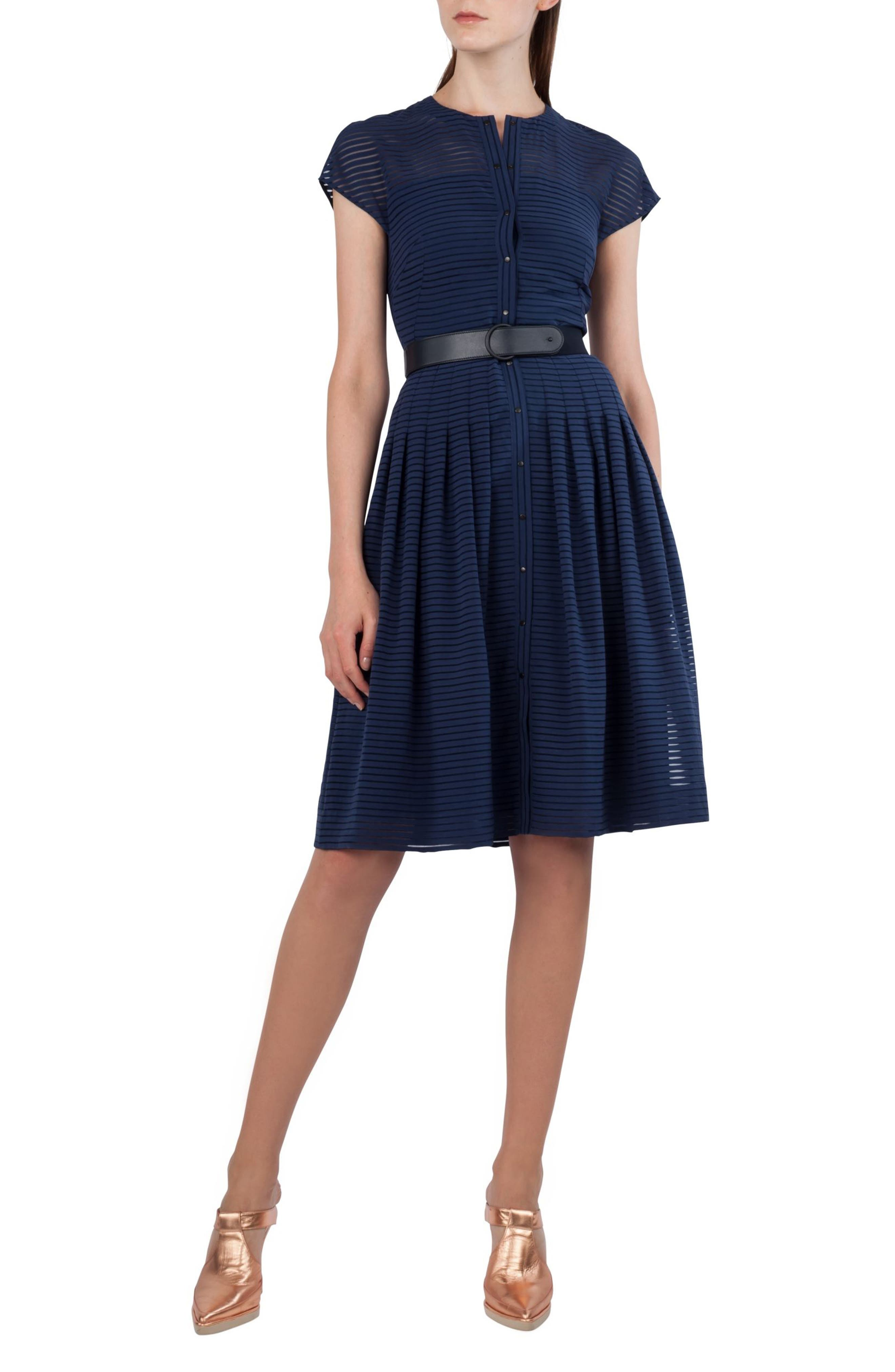 Illusion Stripe Shirtdress,                         Main,                         color, Blue Denim
