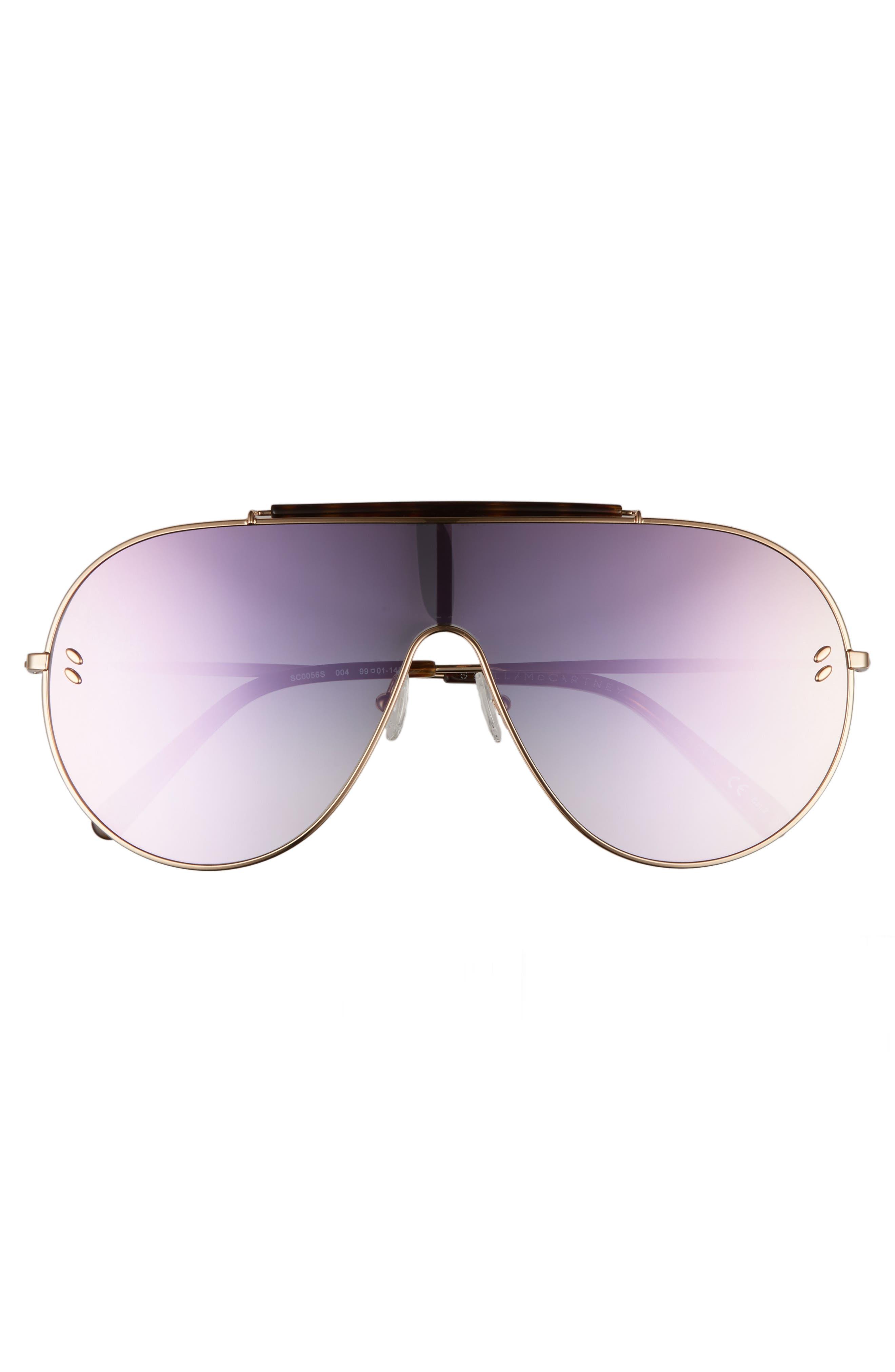 65mm Shield Sunglasses,                             Alternate thumbnail 3, color,                             Gold