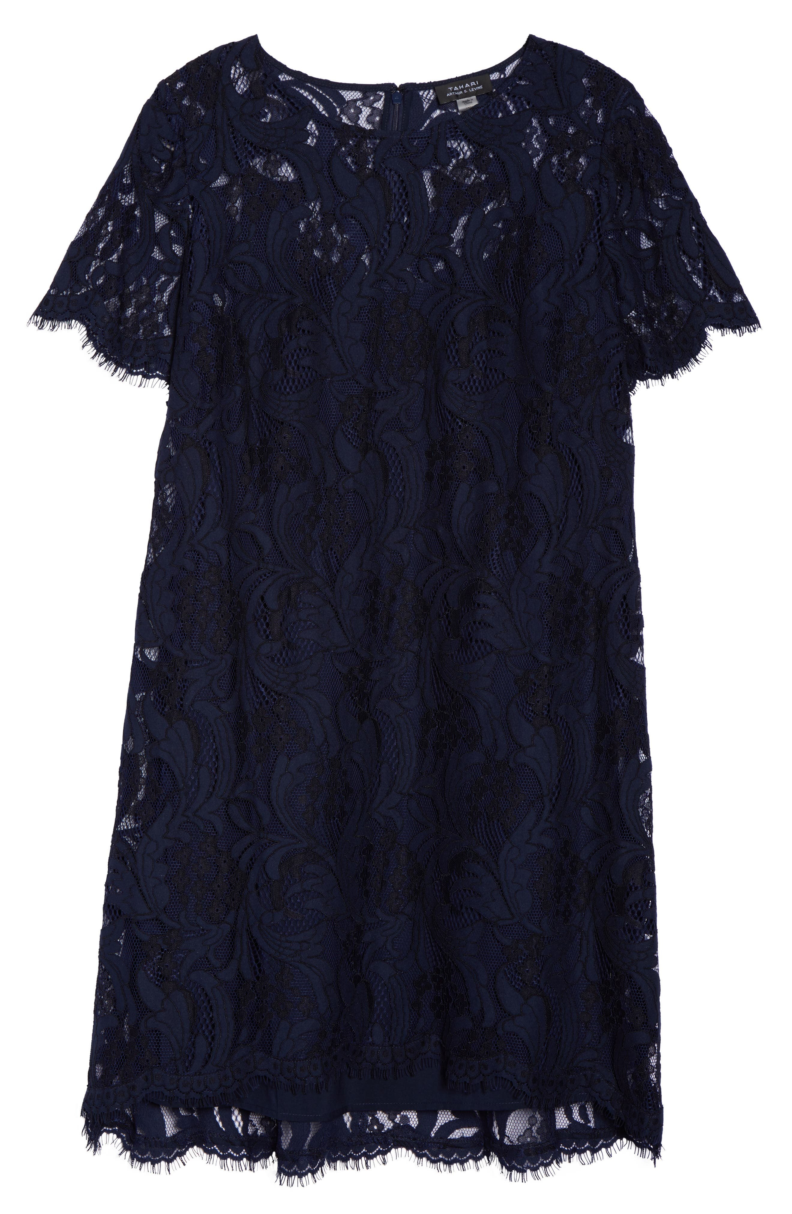 Lace High/Low Dress,                             Alternate thumbnail 6, color,                             Navy