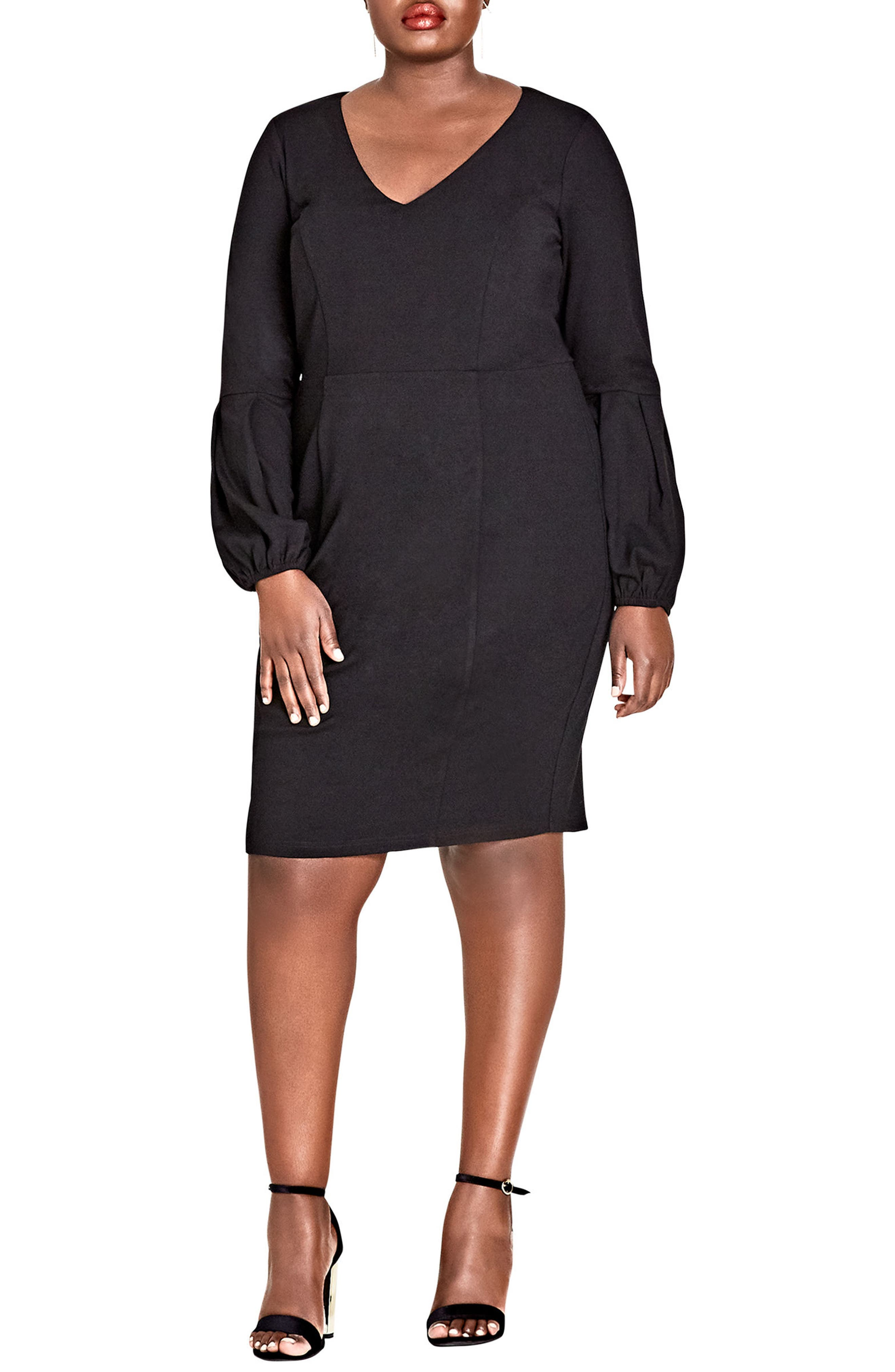 City Chic Fancy Sleeve Sheath Dress (Plus Size)