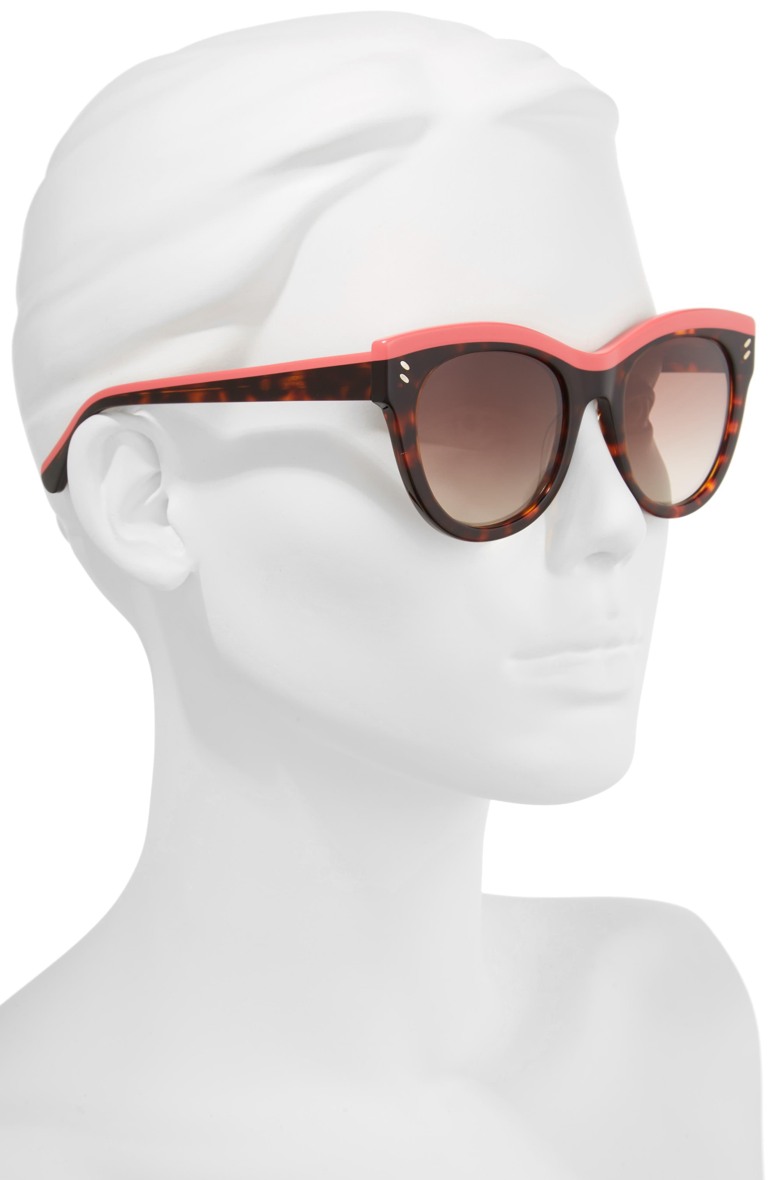 51mm Cat Eye Sunglasses,                             Alternate thumbnail 2, color,                             Pink/ Avana