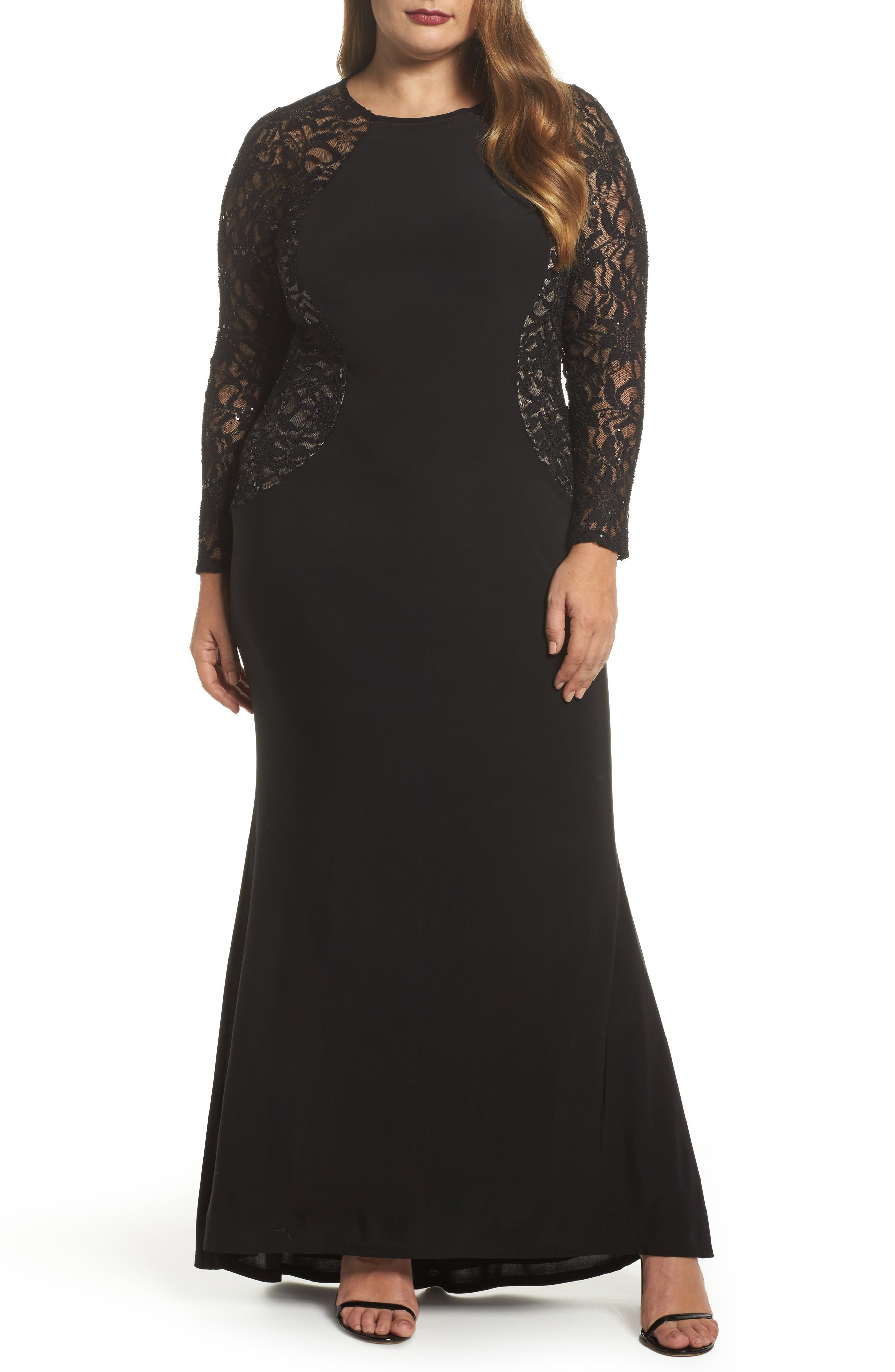 Main Image - Marina Lace & Knit A-Line Gown (Plus Size)