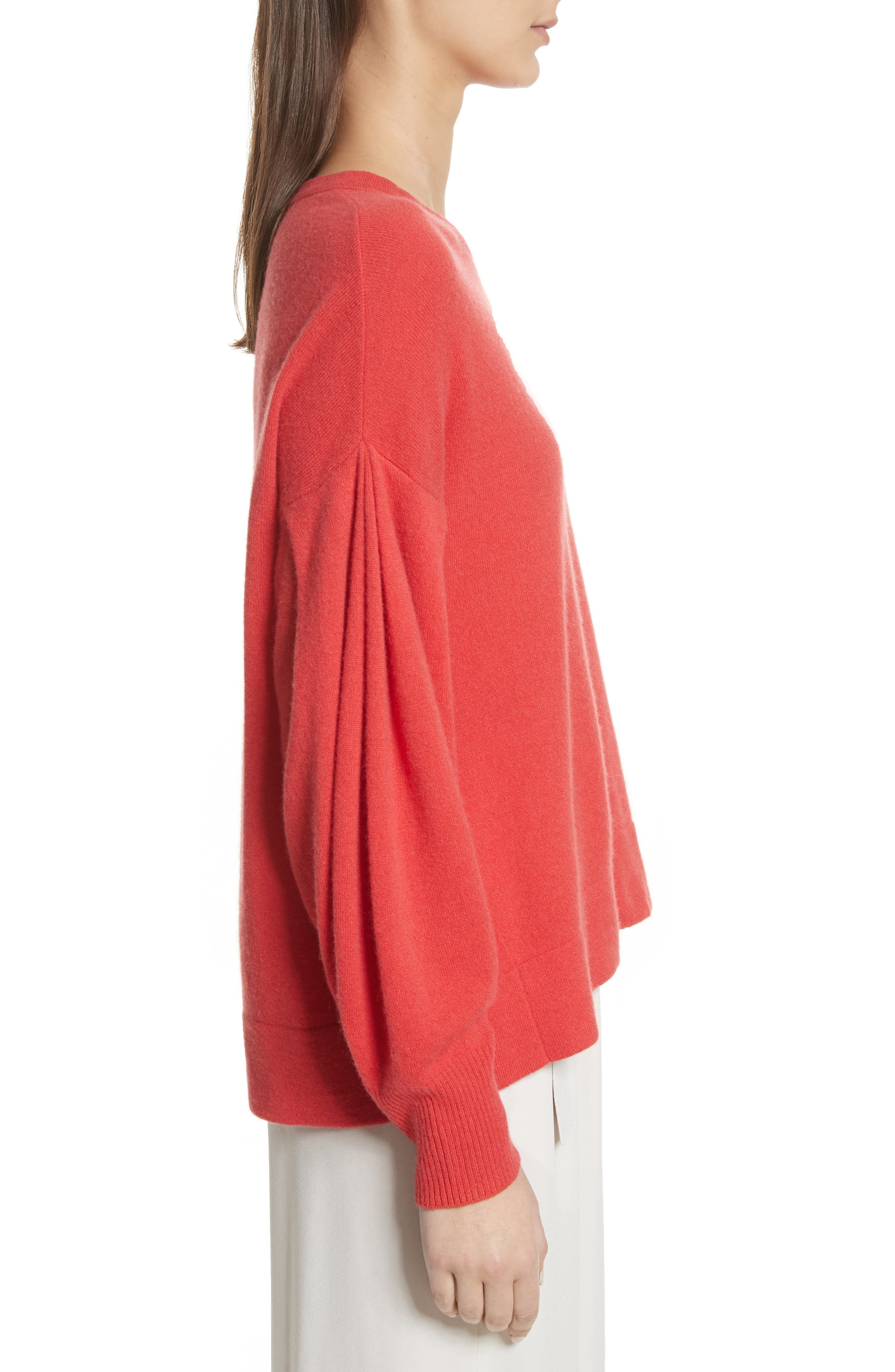 Pleat Sleeve Cashmere Sweater,                             Alternate thumbnail 4, color,                             Poppy