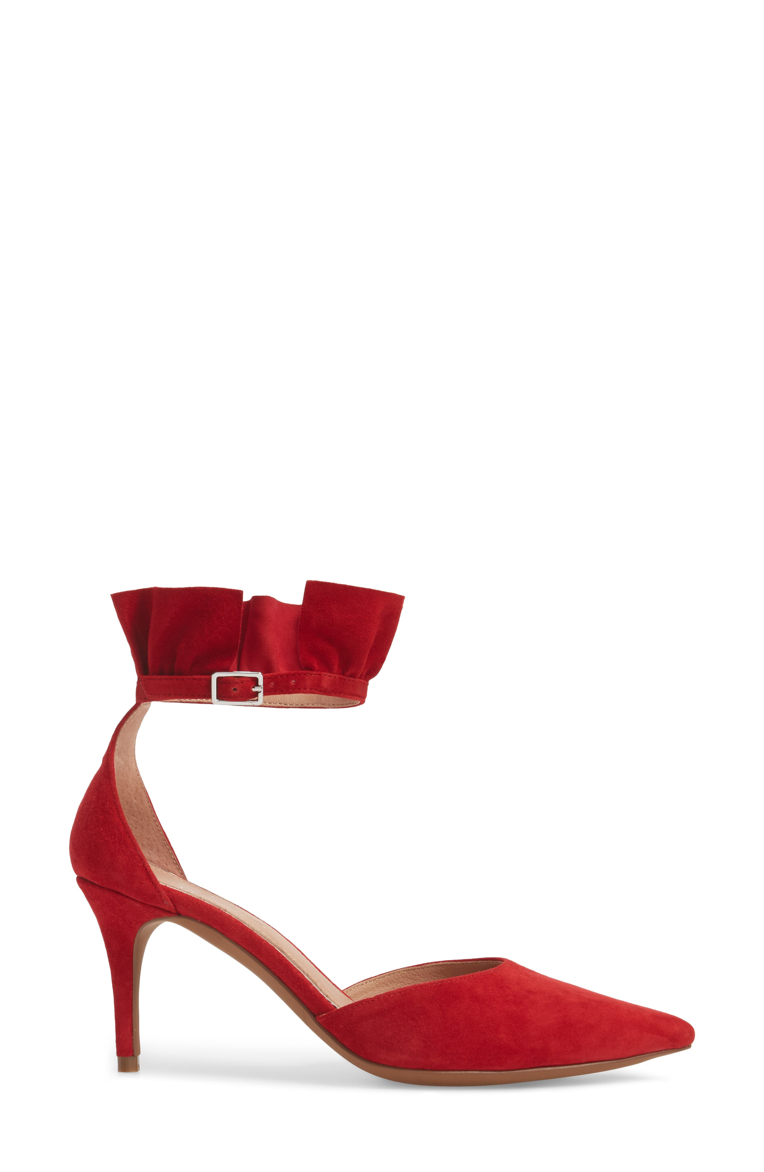 Pammy Ruffled Pointy Toe Pump,                             Alternate thumbnail 3, color,                             Red Suede