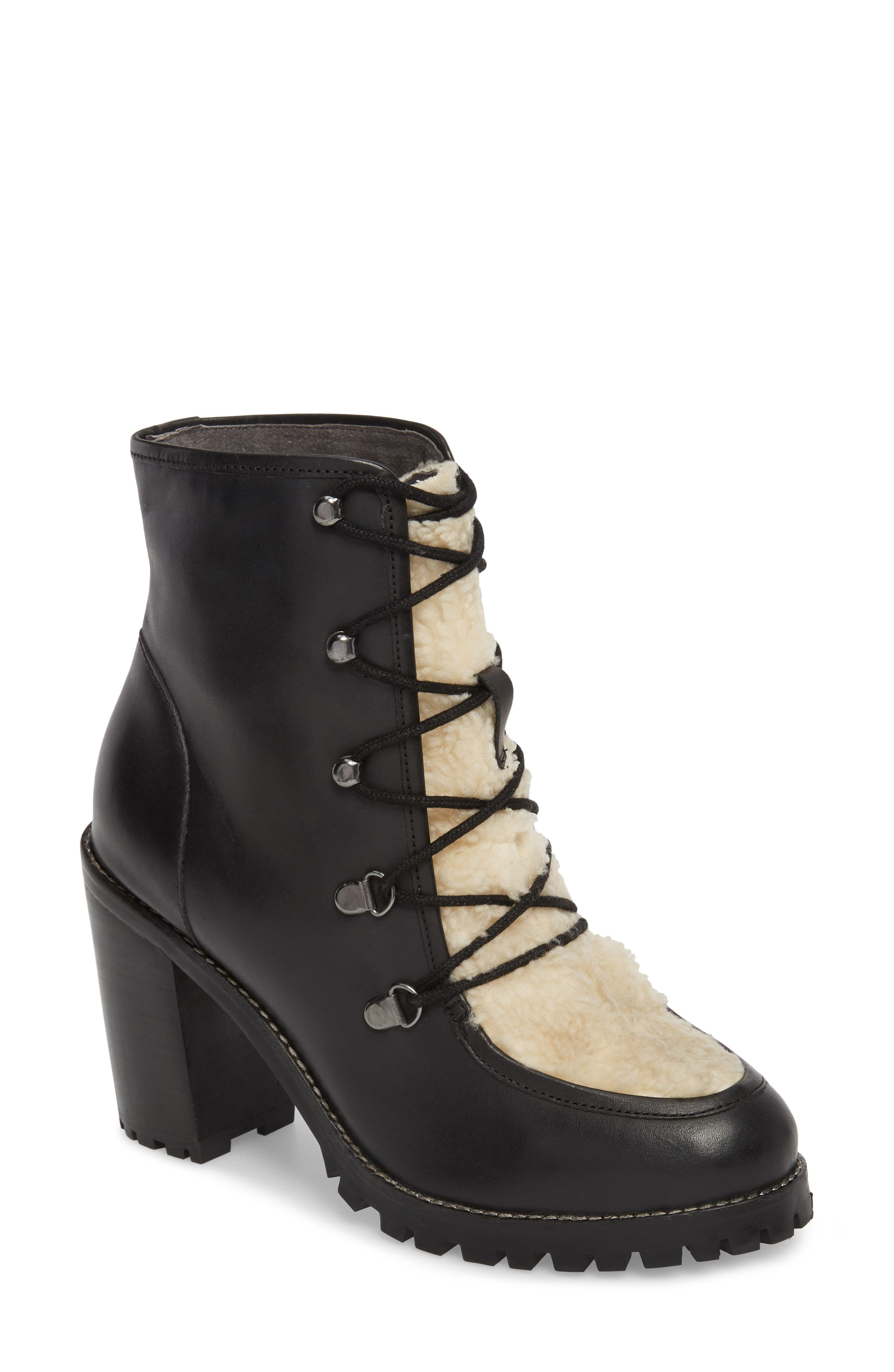 Theater Lace-Up Bootie,                             Main thumbnail 1, color,                             Black Leather