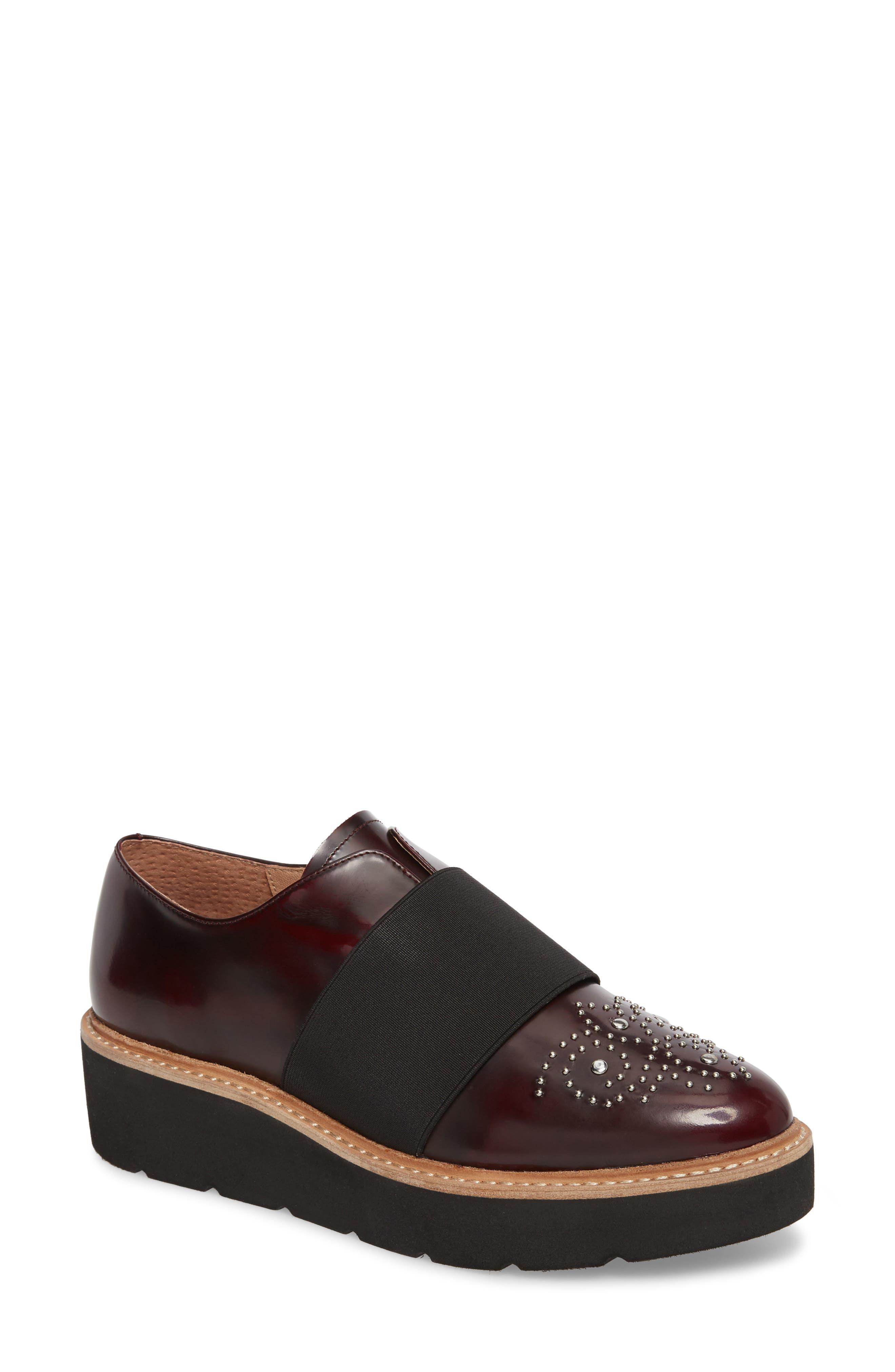 Jenna Platform Loafer,                             Main thumbnail 1, color,                             Burgundy Leather
