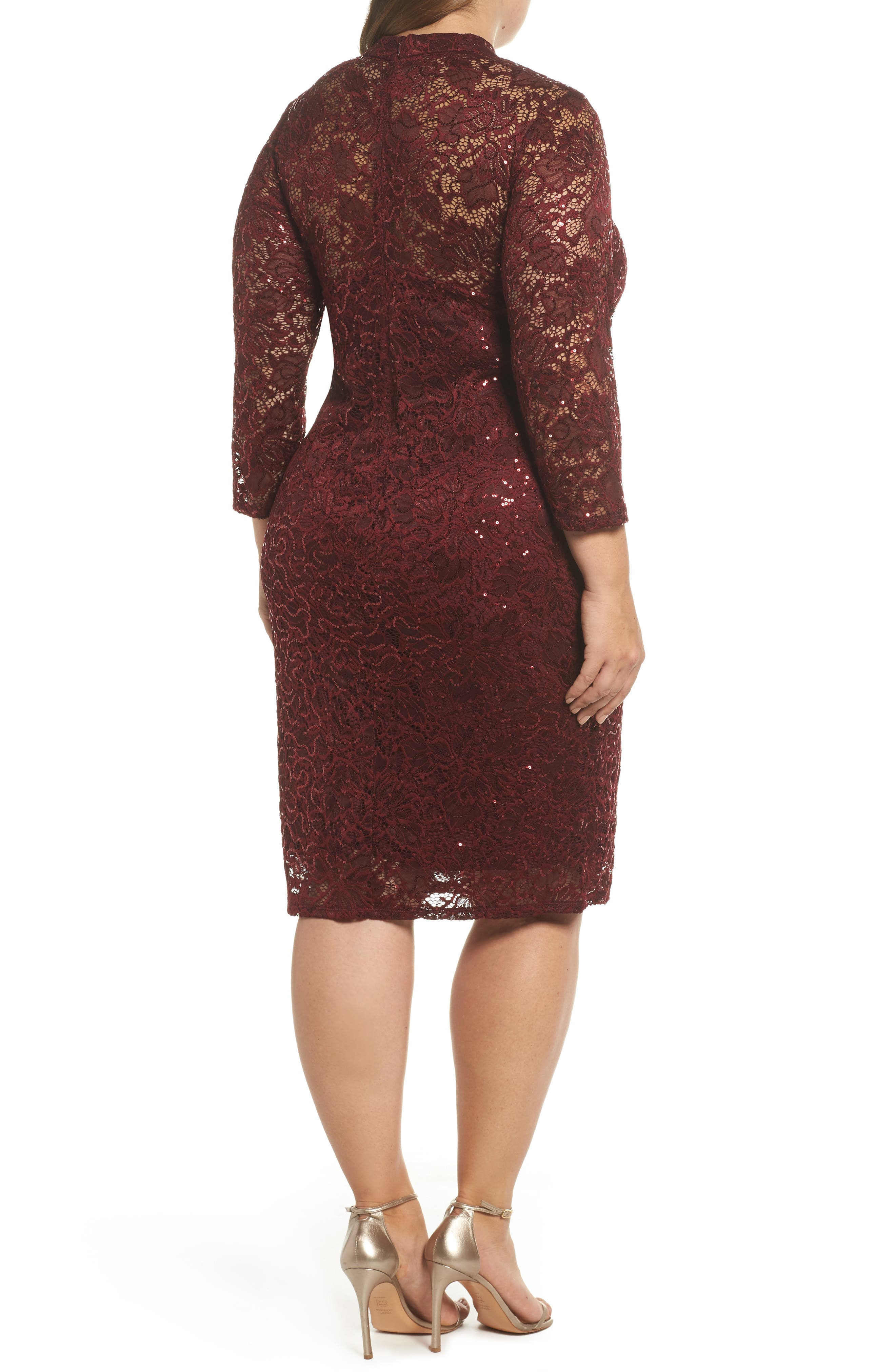 Alternate Image 2  - Marina Choker Neck Lace Sheath Dress (Plus Size)