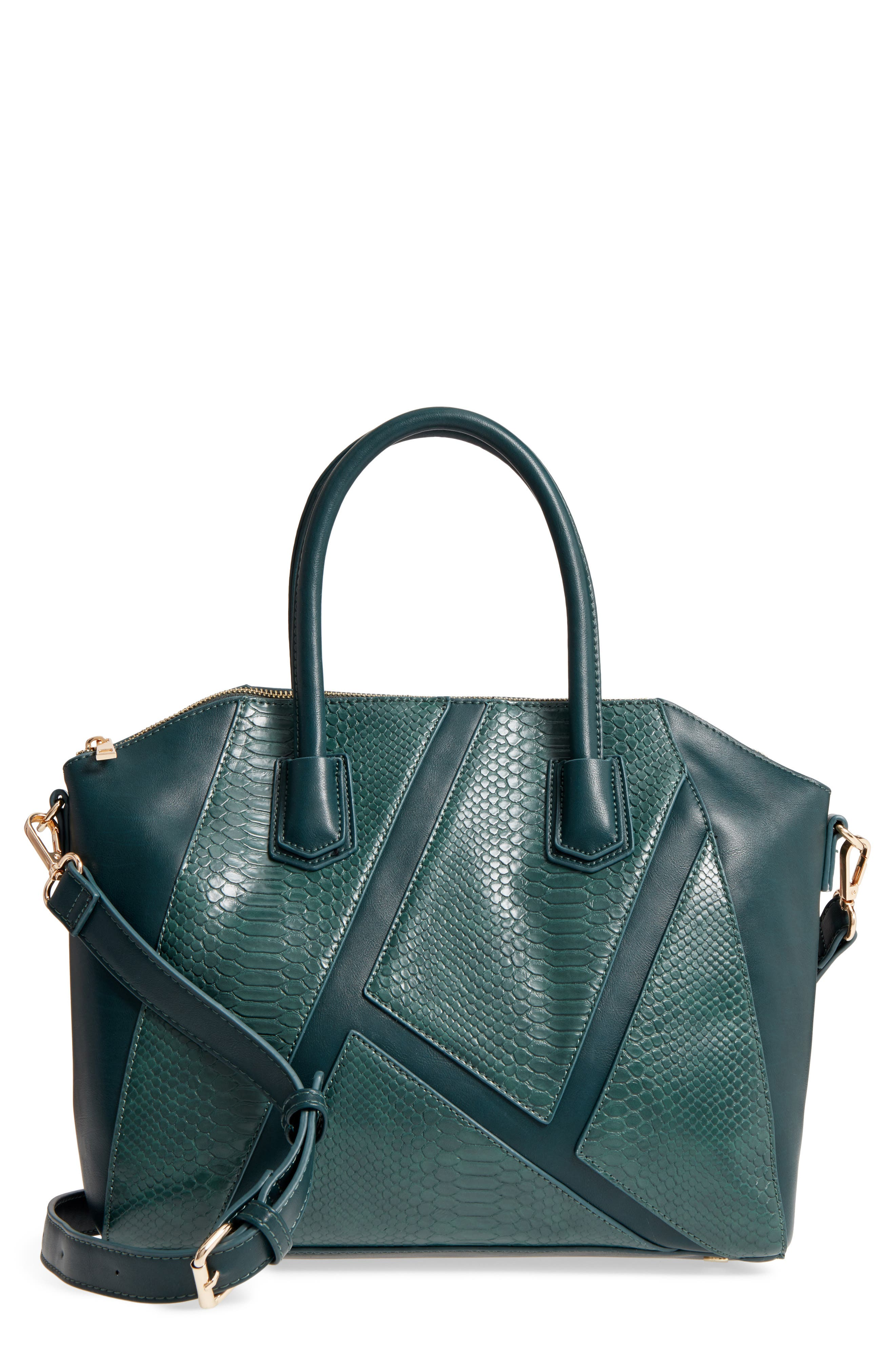 Chase Faux Leather Satchel,                         Main,                         color, Emerald