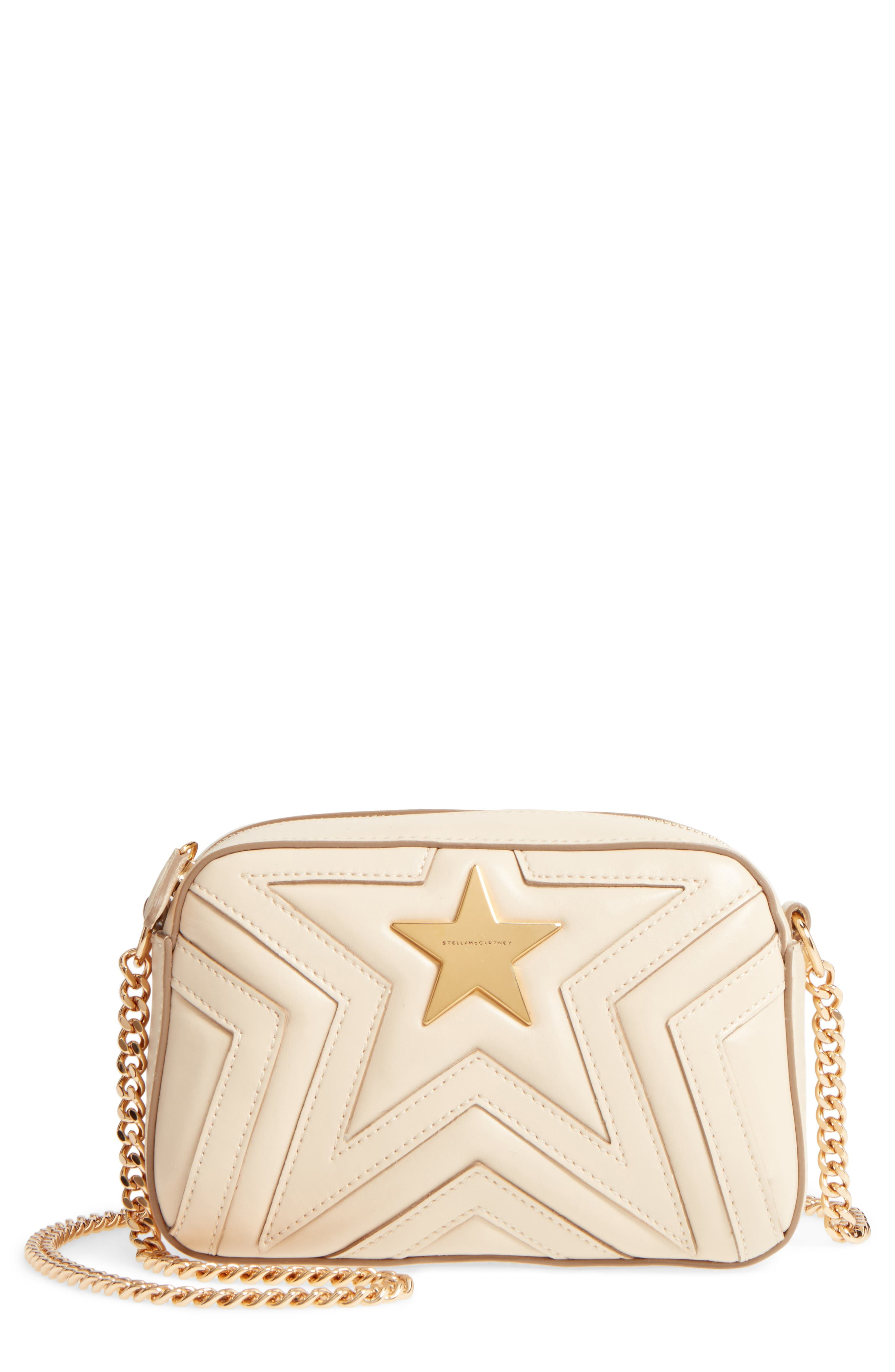 Mini Star Quilted Faux Leather Camera Bag,                             Main thumbnail 1, color,                             Cream