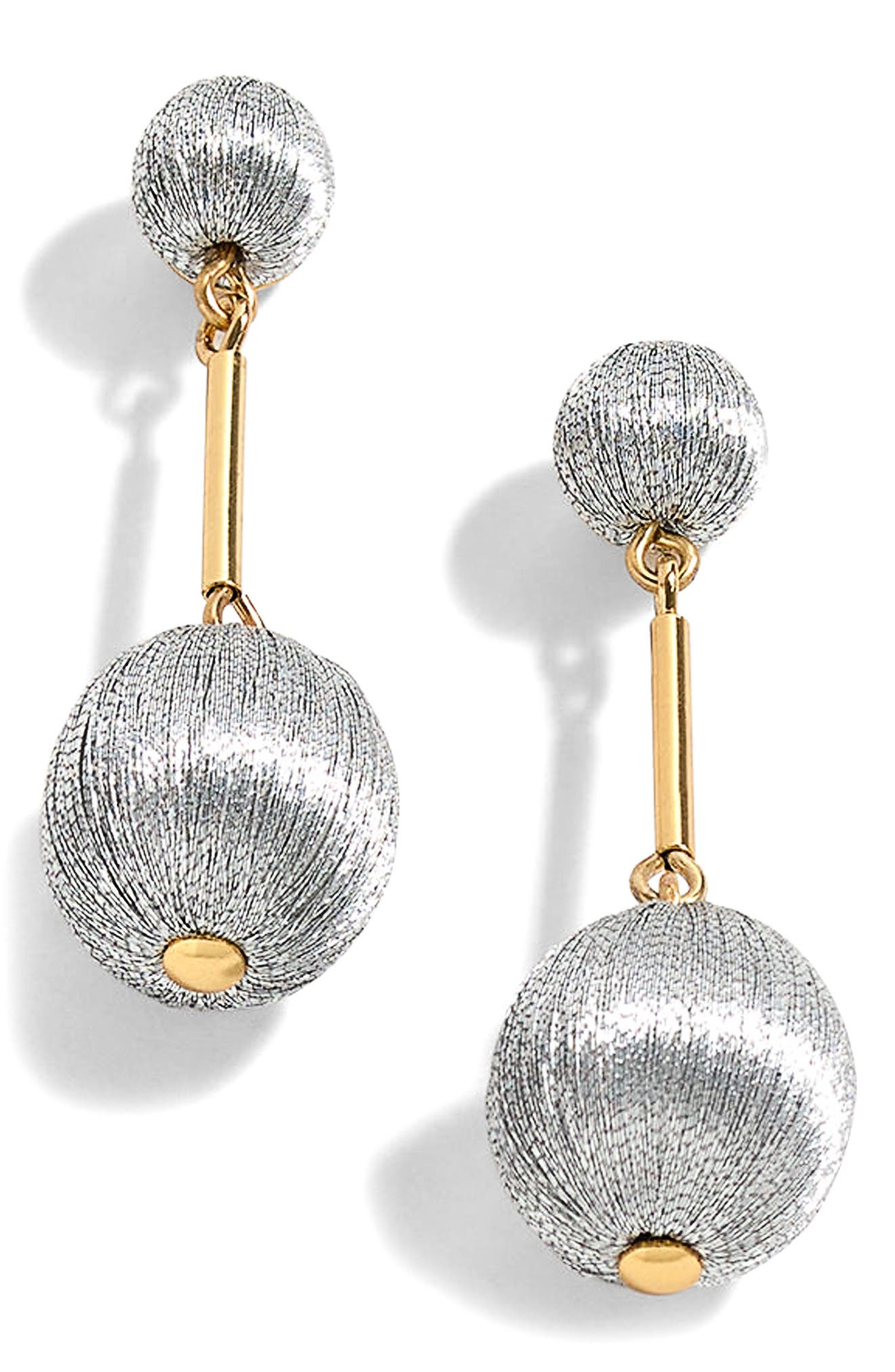 Thread Ball Swing Earrings,                         Main,                         color, Metallic Silver