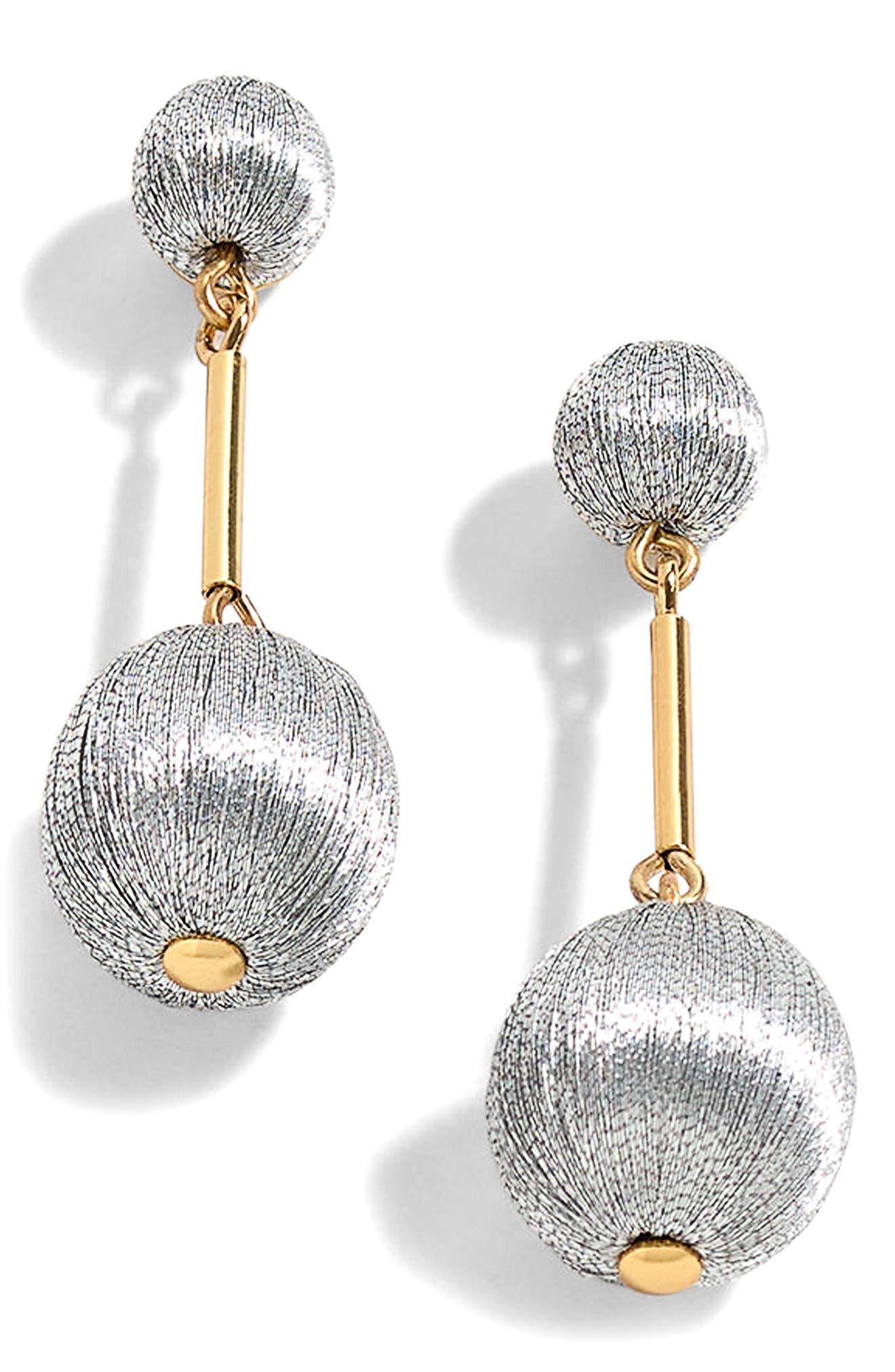 J.Crew Thread Ball Swing Earrings,                         Main,                         color, Metallic Silver