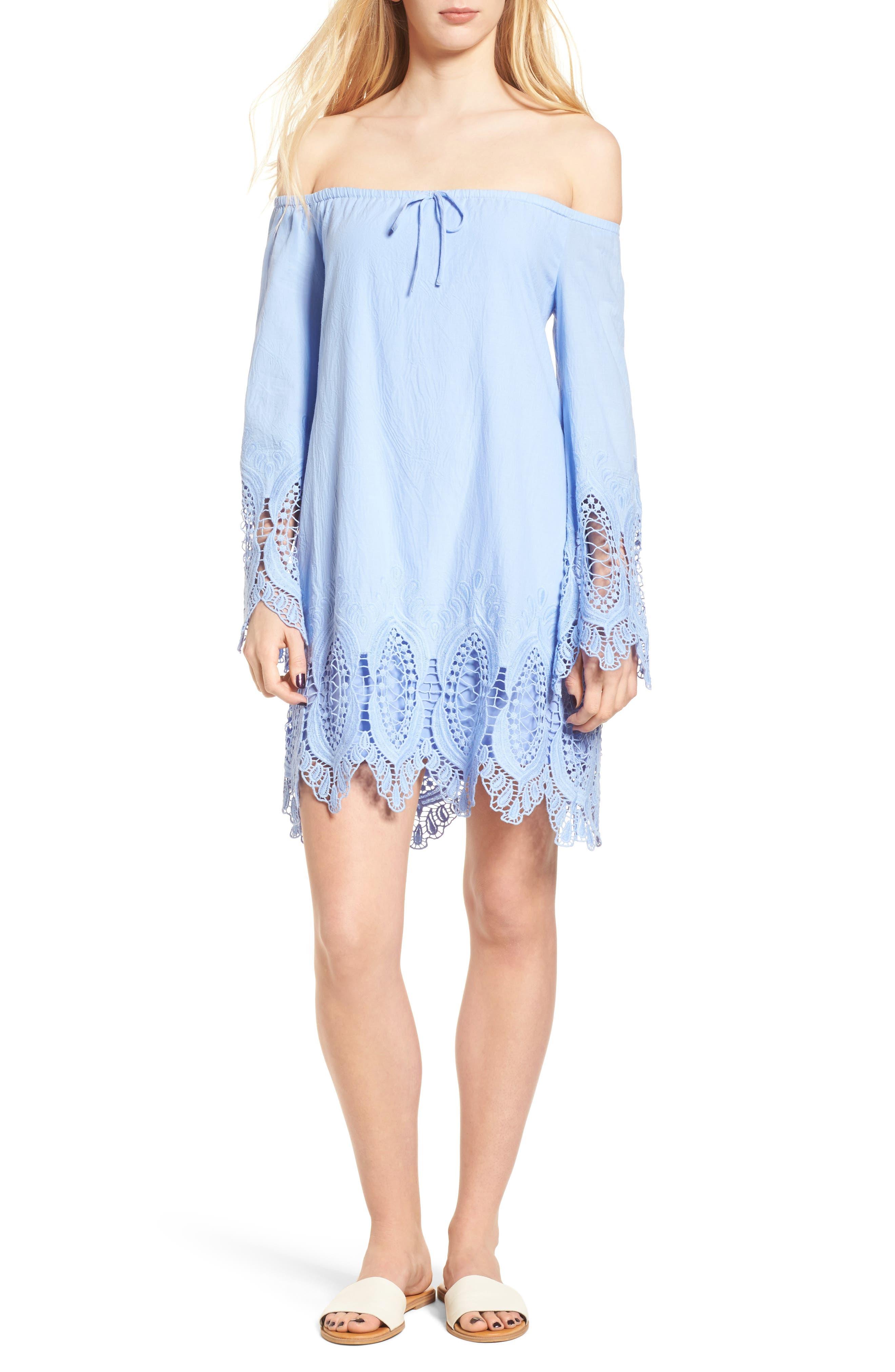 Lace Trim Off the Shoulder Dress,                             Main thumbnail 1, color,                             Blue Powder