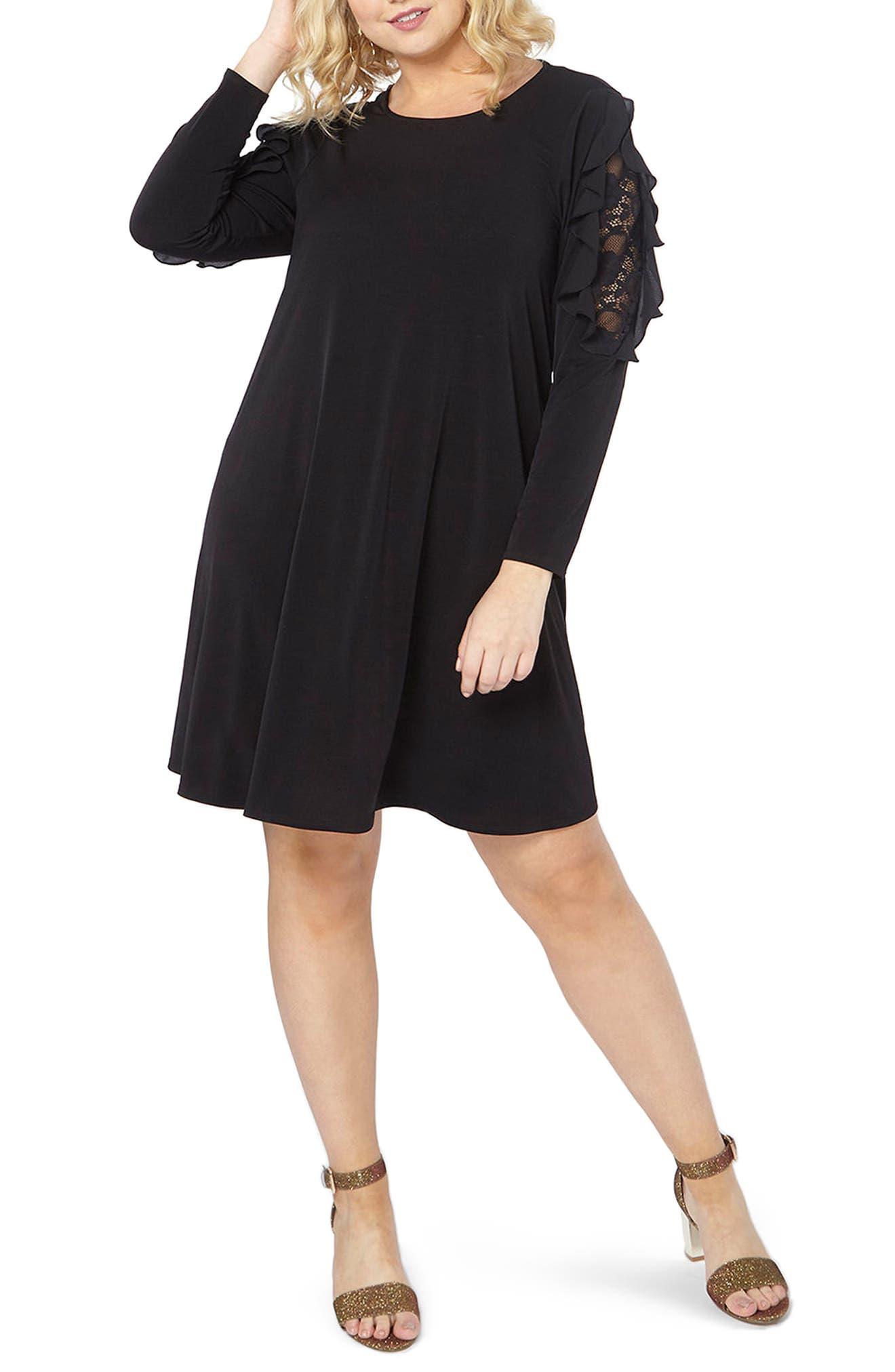 Lace Inset Shift Dress,                             Main thumbnail 1, color,                             Black