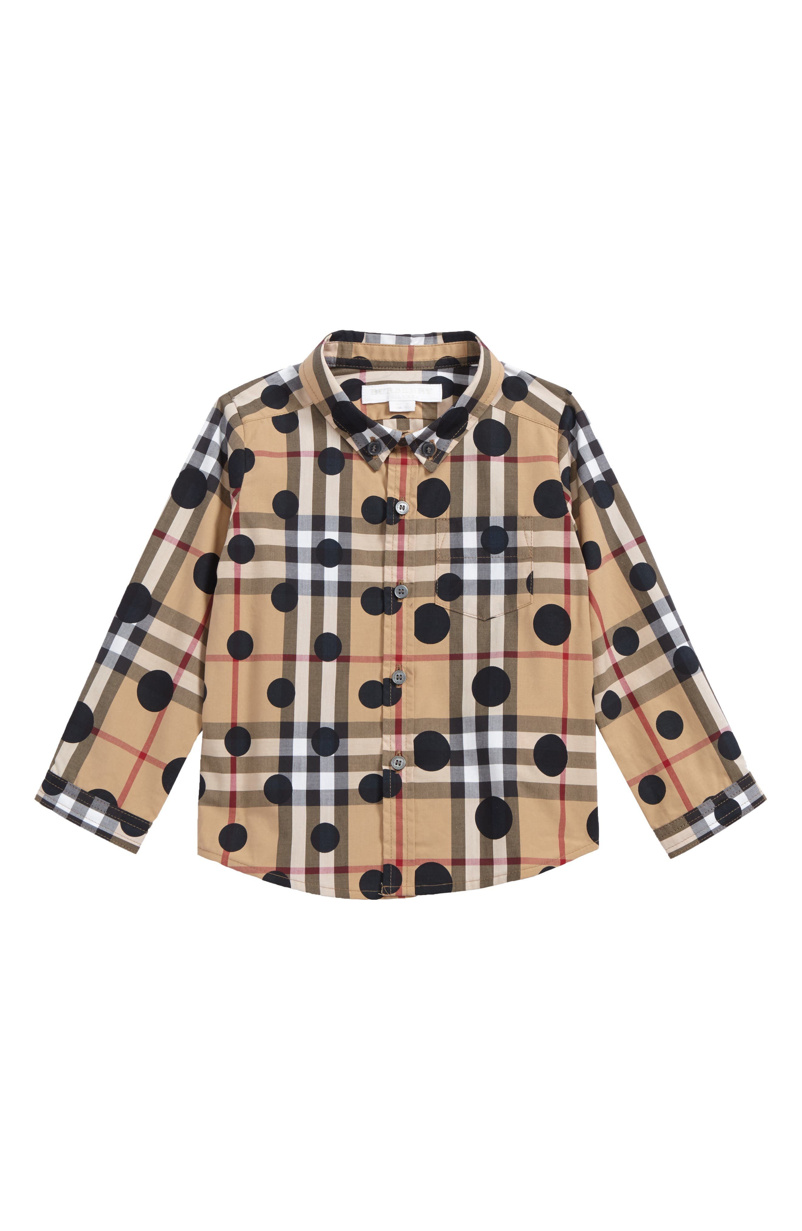 Mini Fred Polka Dot & Check Print Shirt,                             Main thumbnail 1, color,                             Beige