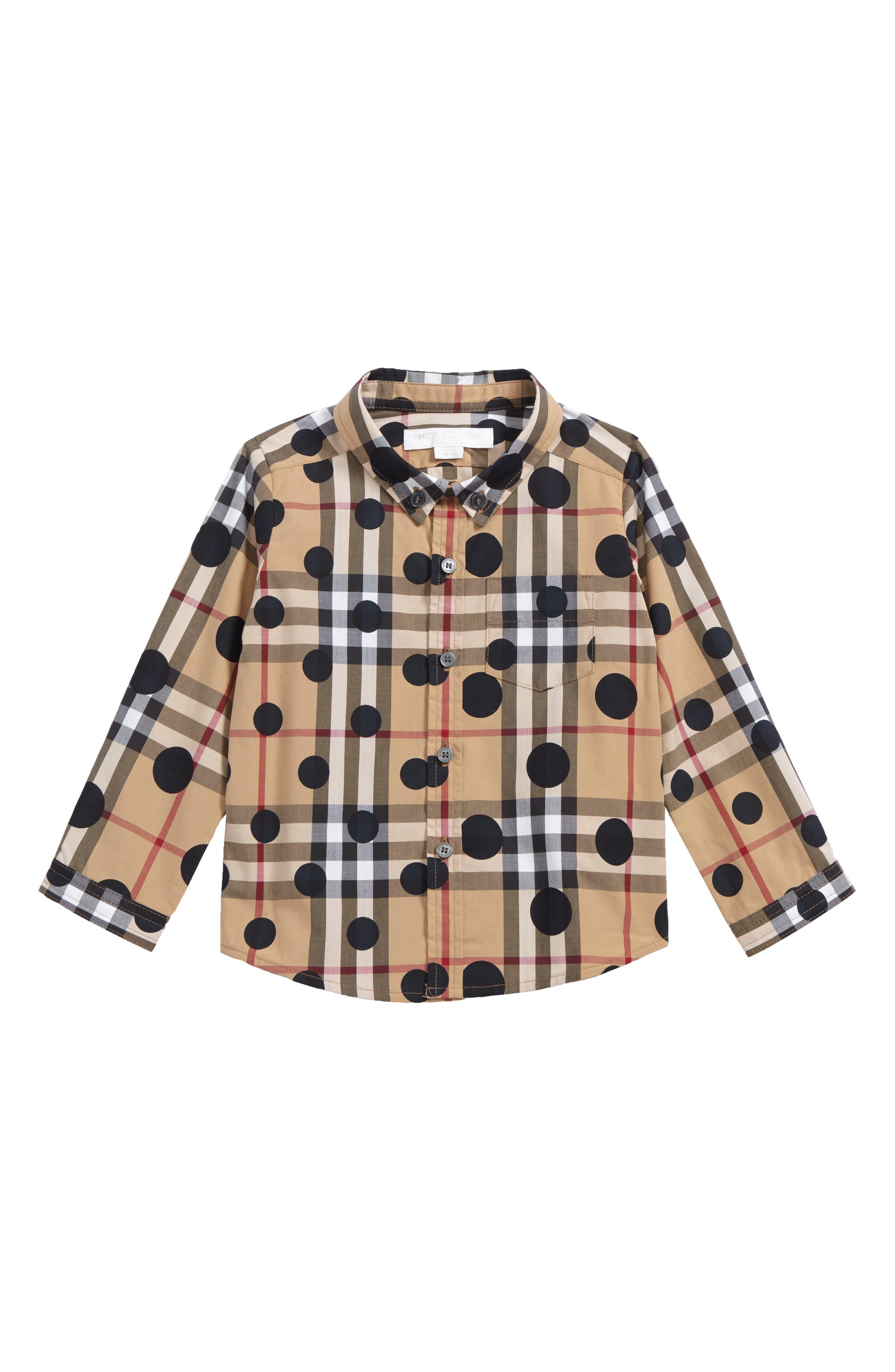 Main Image - Burberry Mini Fred Polka Dot & Check Print Shirt (Baby Boys)