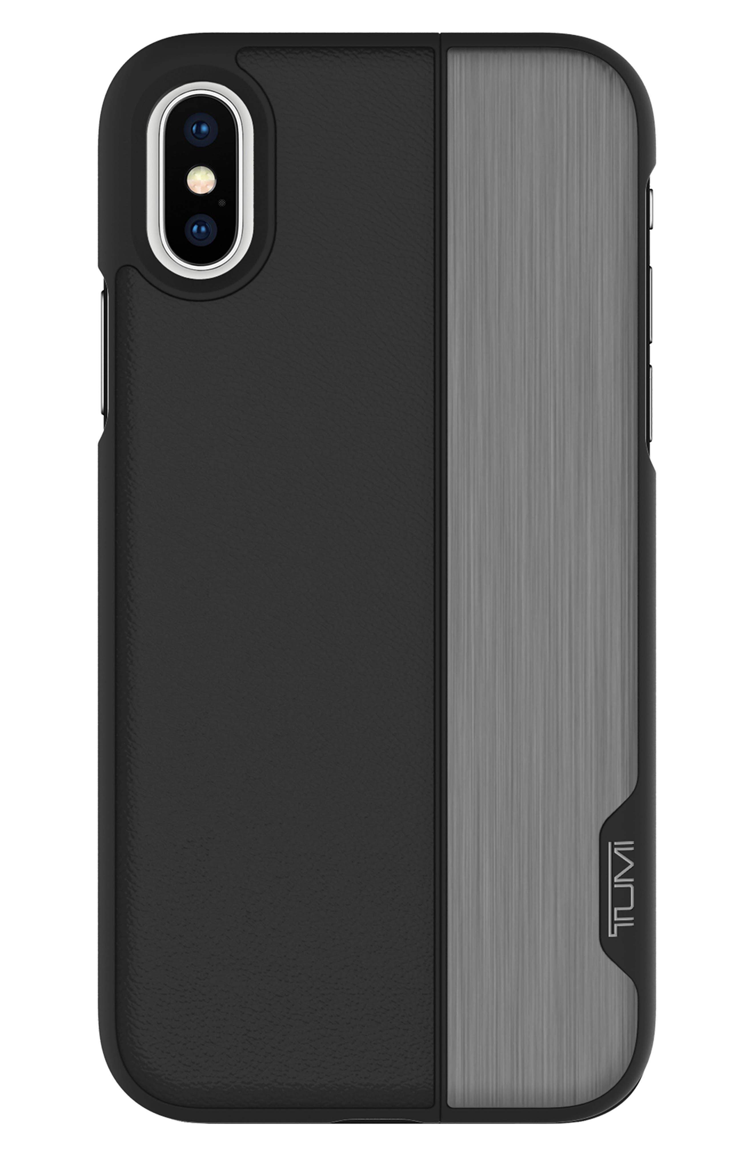 Vertical Slider iPhone X Case,                             Main thumbnail 1, color,                             Black Gunmetal