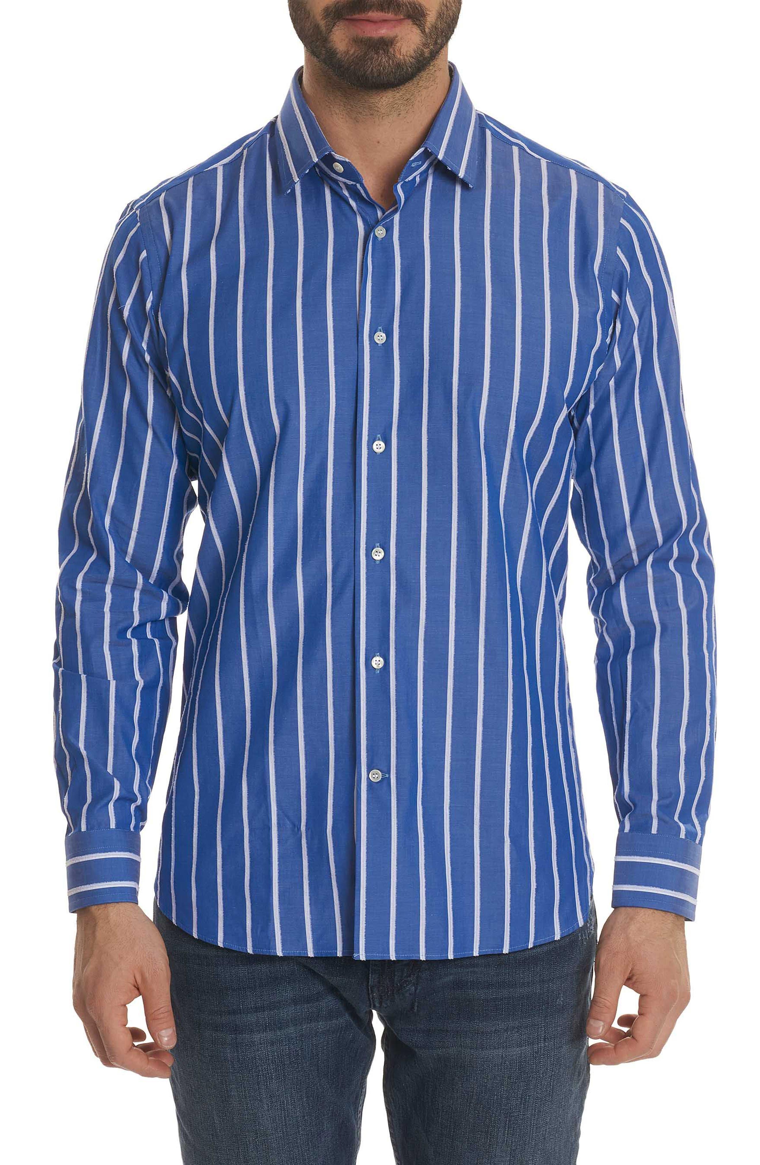Massimo Regular Fit Stripe Sport Shirt,                         Main,                         color, Blue