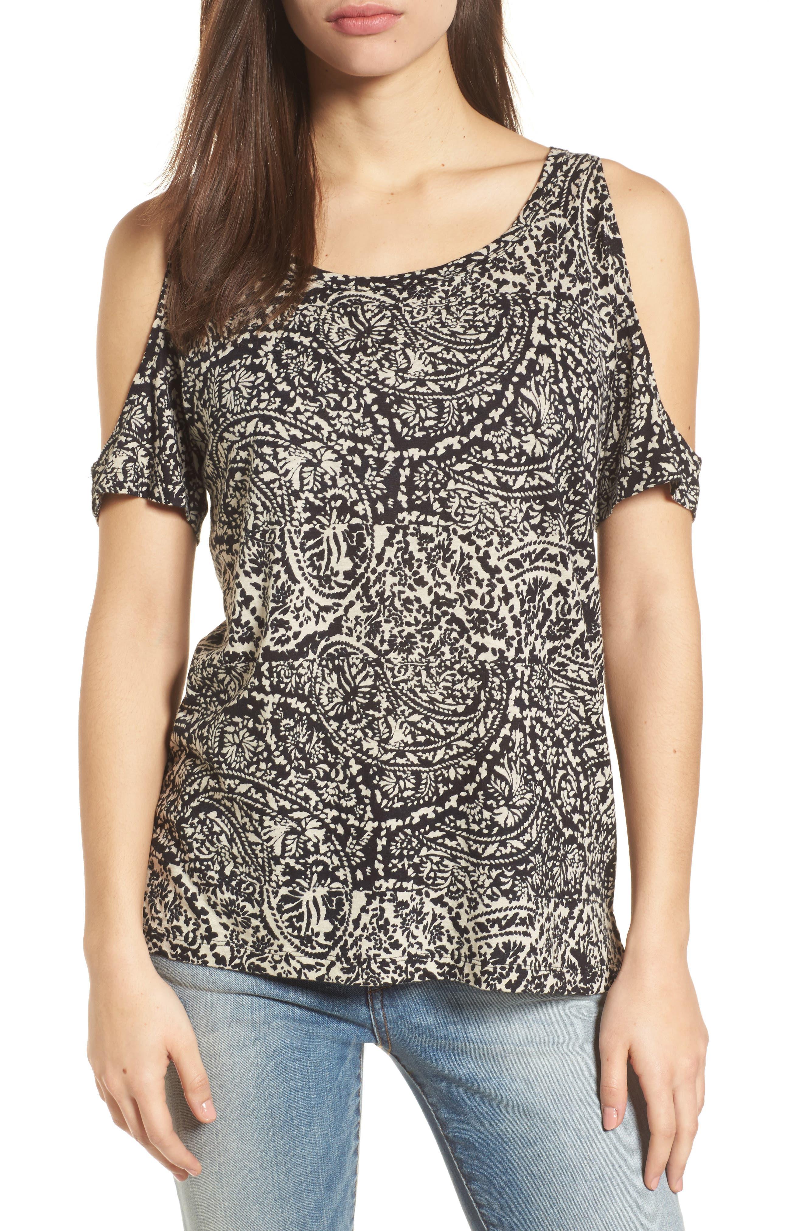 Cold Shoulder Paisley Top,                         Main,                         color, Black Multi