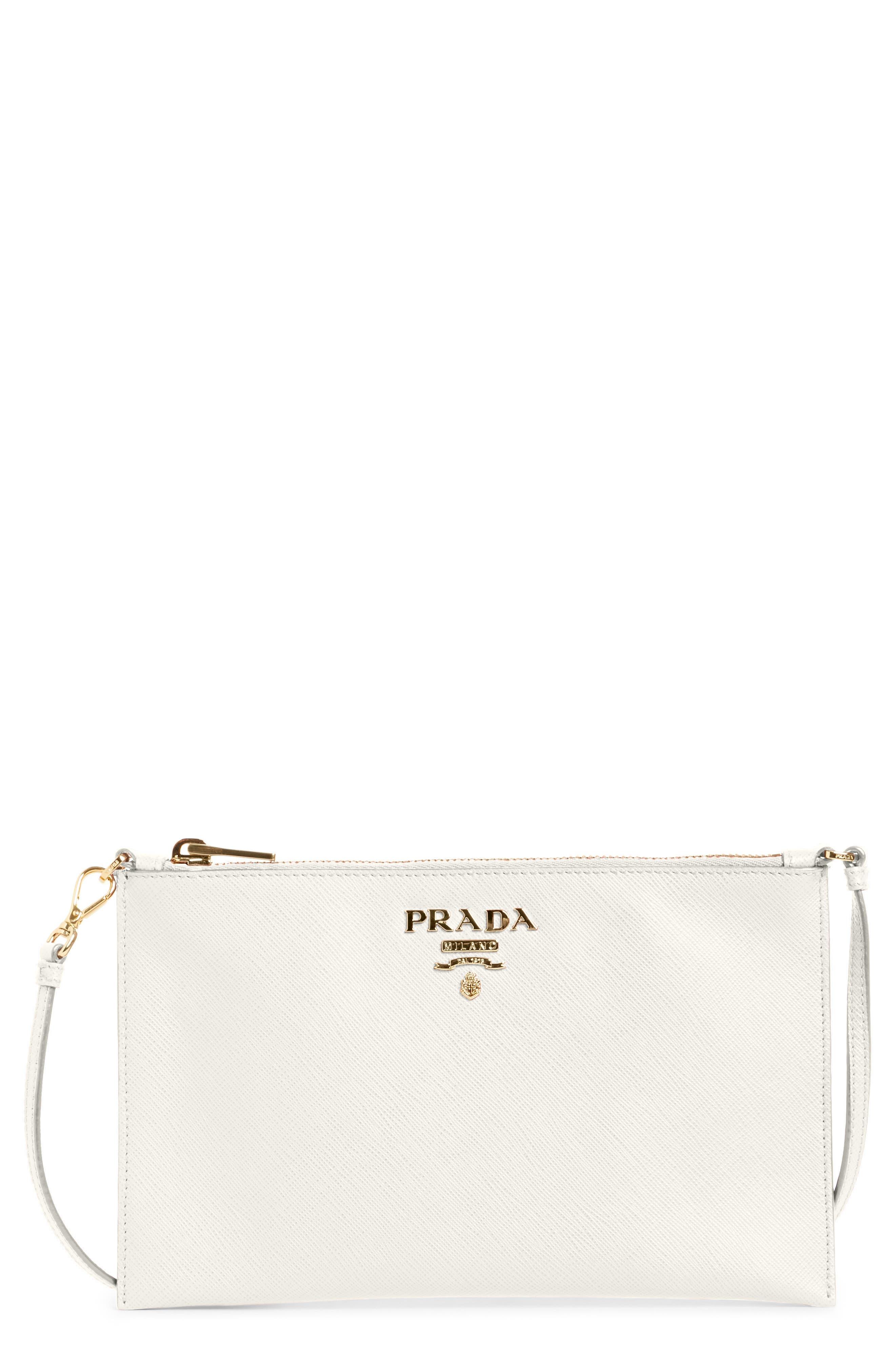 Saffiano Leather Shoulder Bag,                             Main thumbnail 1, color,                             F0009 Bianco