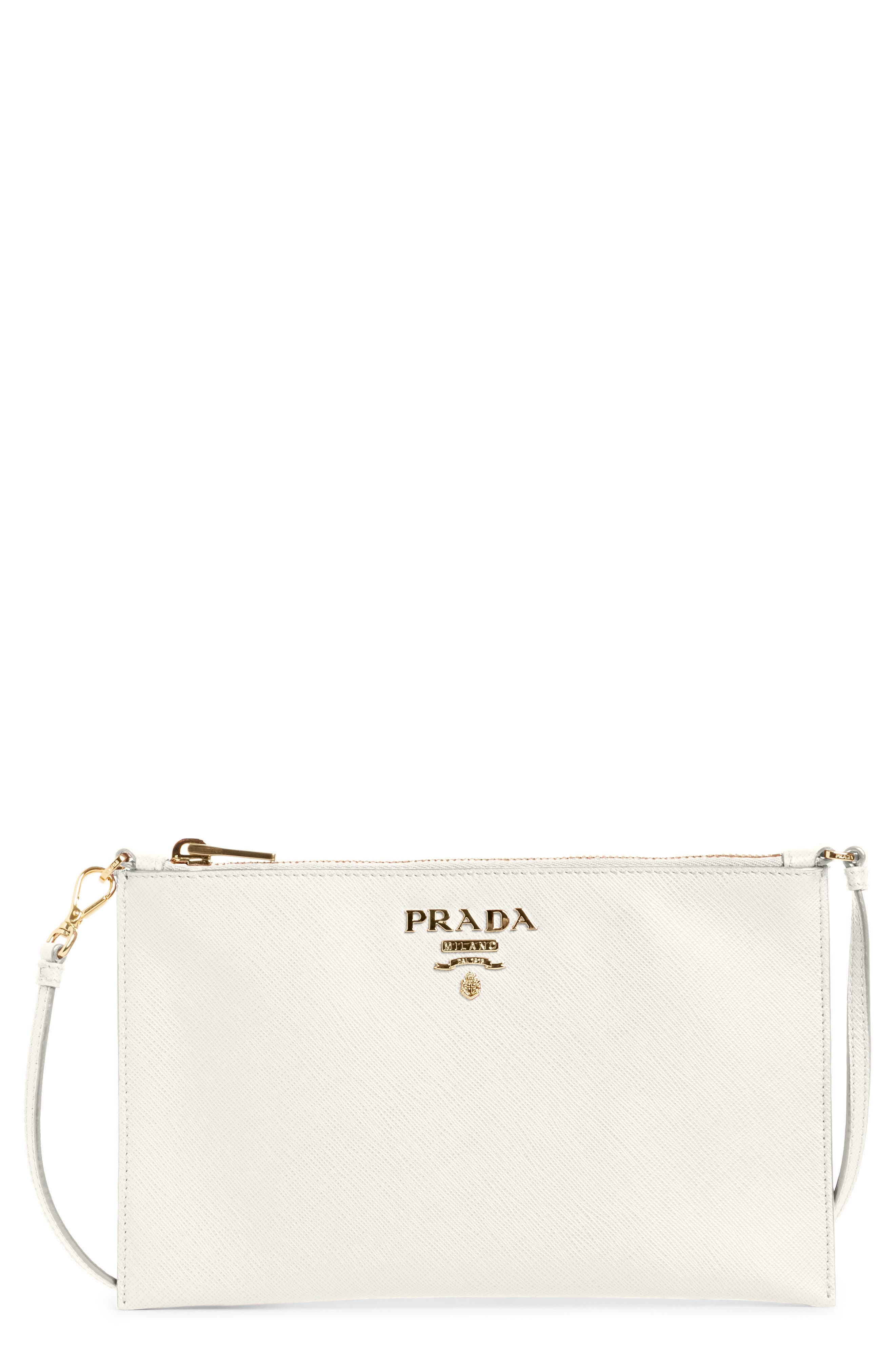Saffiano Leather Shoulder Bag,                         Main,                         color, F0009 Bianco